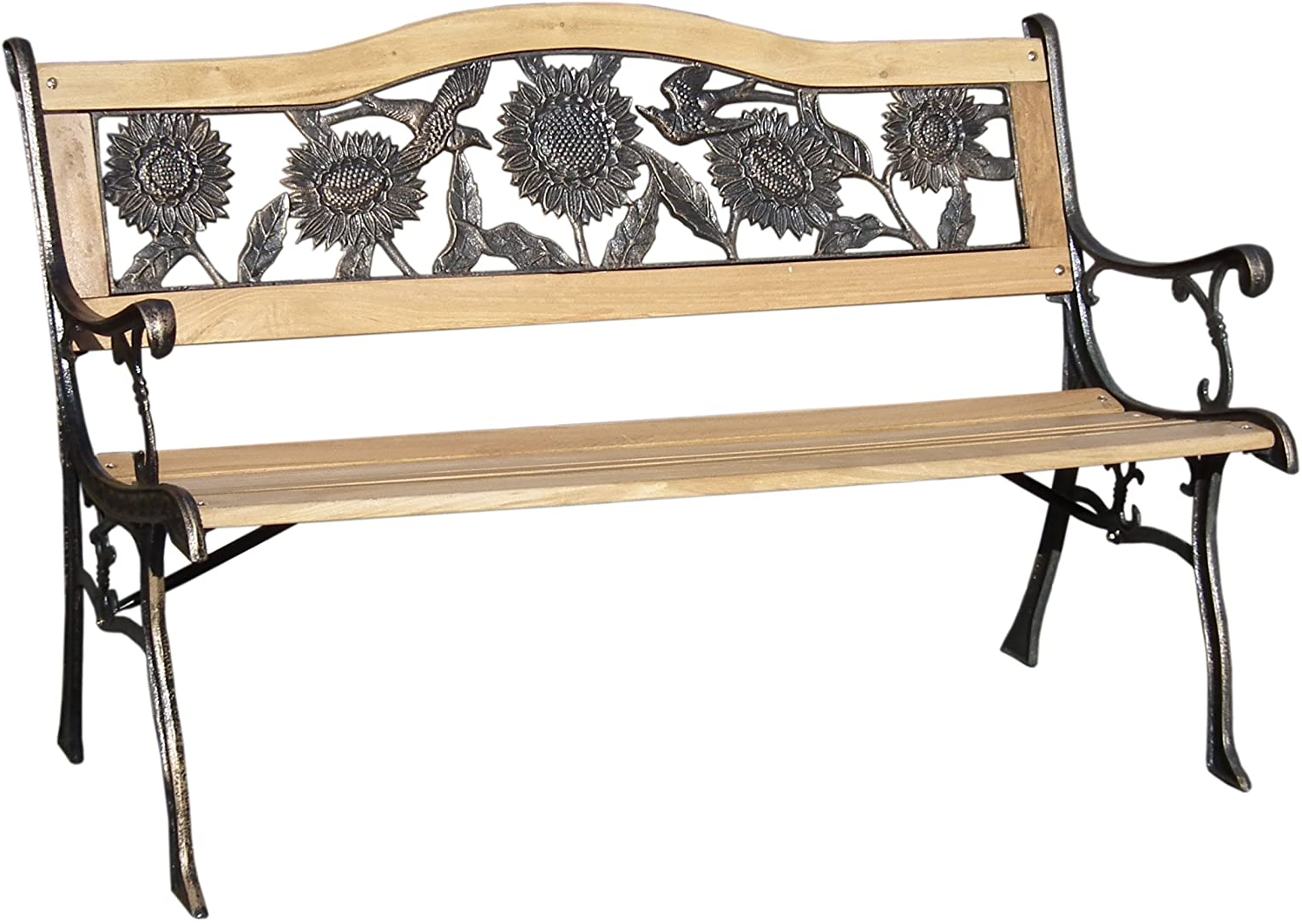 Outdoor Garden Park Bench Cast Iron & Wooden Frame With Sunflower Backrest Throughout Most Current Michelle Metal Garden Benches (View 3 of 30)