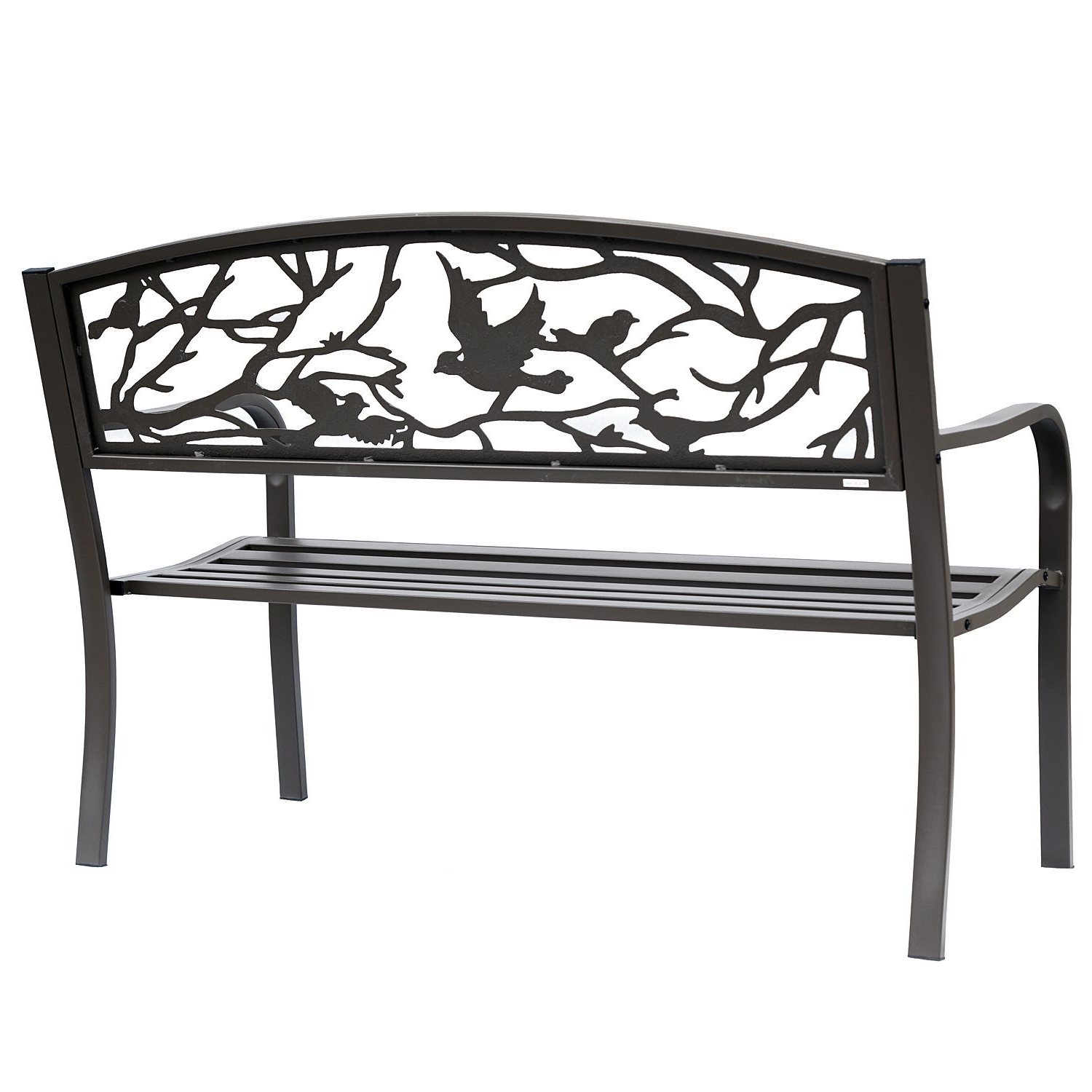 """Outsunny 50"""" Vintage Bird Pattern Garden Cast Iron Patio Bench – Brown With Most Current Madeline Vintage Bird Cast Iron Garden Benches (View 7 of 30)"""