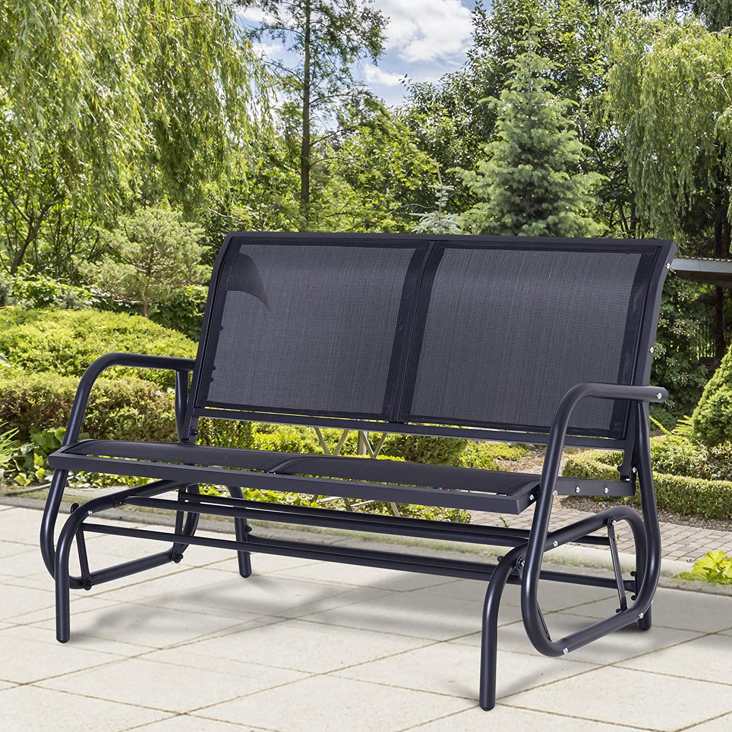 Outsunny Double Seat Swing Chair Outdoor Garden Patio Glider Bench Black Inside Recent Pauls Steel Garden Benches (View 13 of 30)