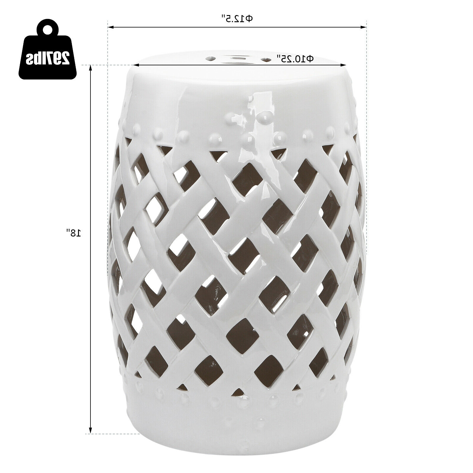 Outsunny Modern Ceramic Lattice Garden Stool Accent Table Decorative White In Trendy Standwood Metal Garden Stools (View 16 of 30)