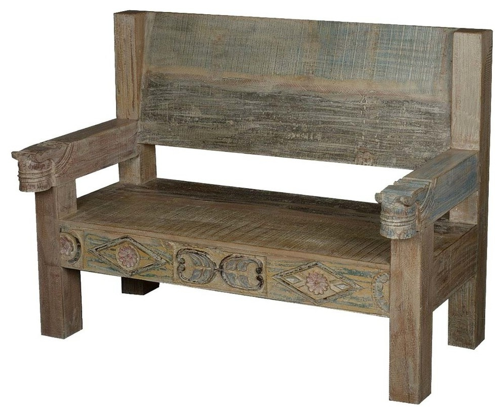 Ozark Hand Carved Reclaimed Wood Porch Bench W High Back Within Favorite Avoca Wood Garden Benches (View 20 of 30)