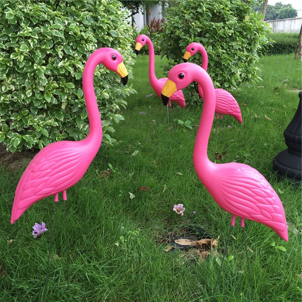 Pack Of 2 Plastic Pink Flamingo Figurines Garden Stakes Garden Statues For Outdoor Decor For Most Recent Flamingo Metal Garden Benches (View 20 of 30)