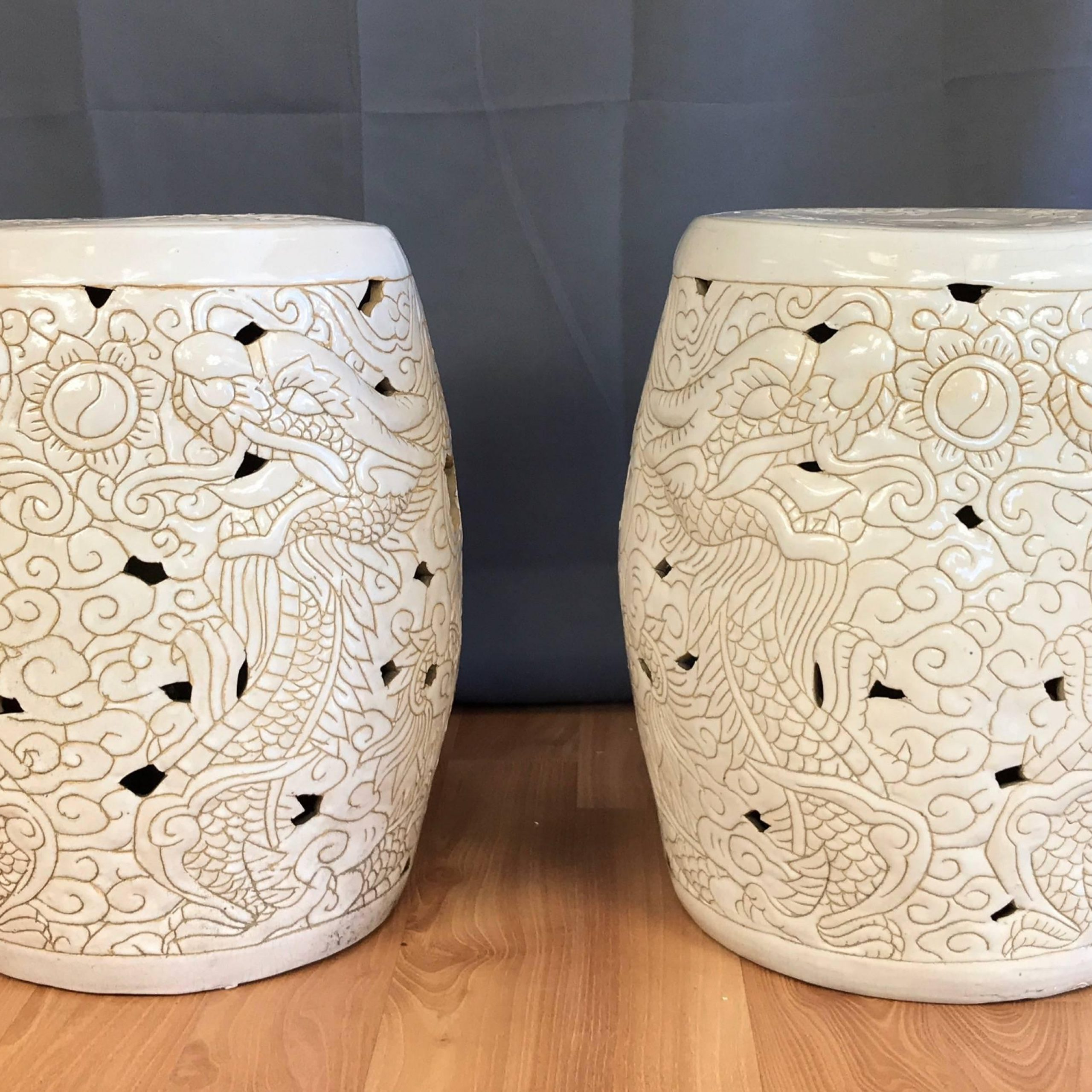 Pair Of Vintage Chinese Dragon Motif White Ceramic Garden Stools For Recent Oakside Ceramic Garden Stools (View 17 of 30)