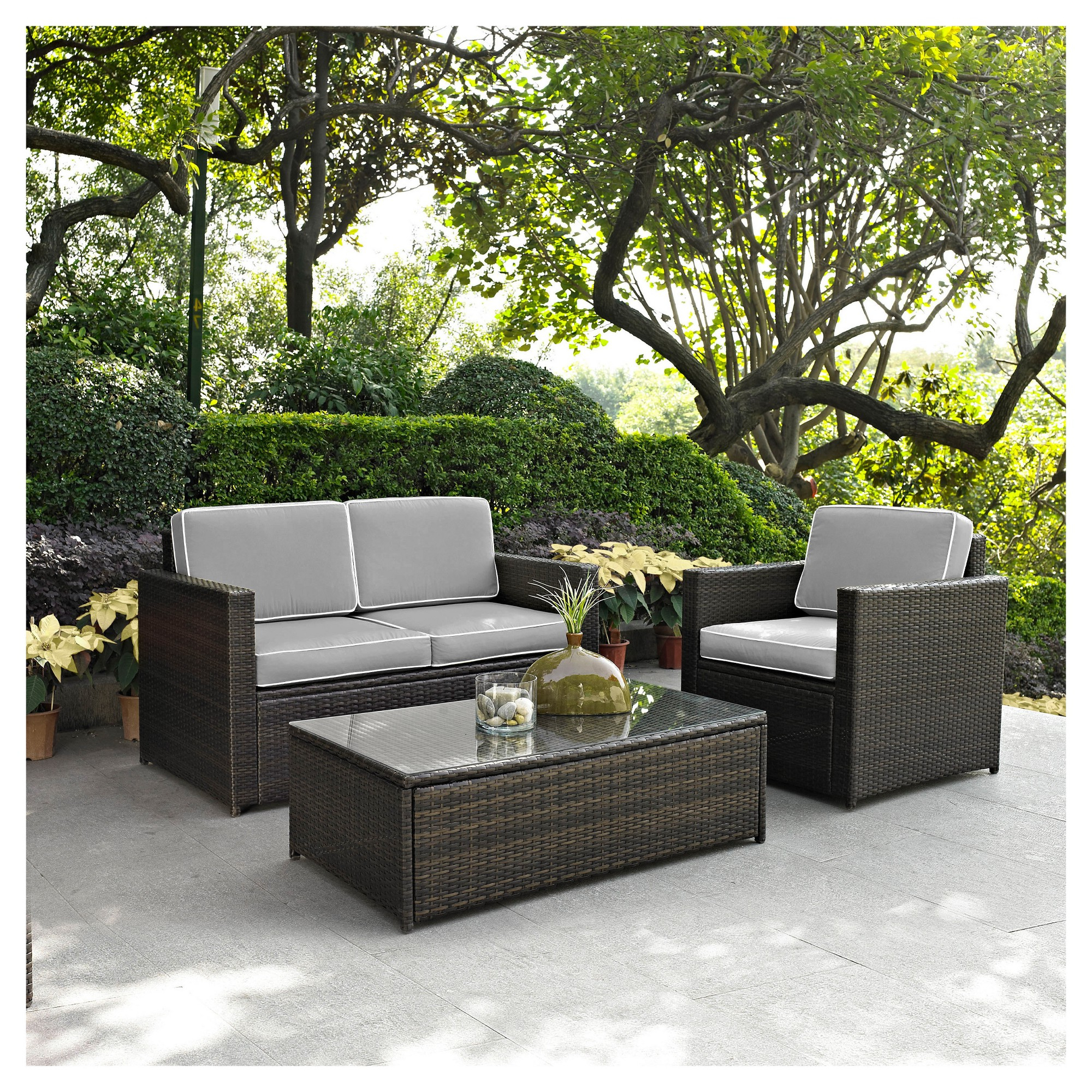Palm Harbor 3pc All Weather Wicker Patio Seating Set – Gray Inside Fashionable Cavin Garden Benches (View 25 of 30)