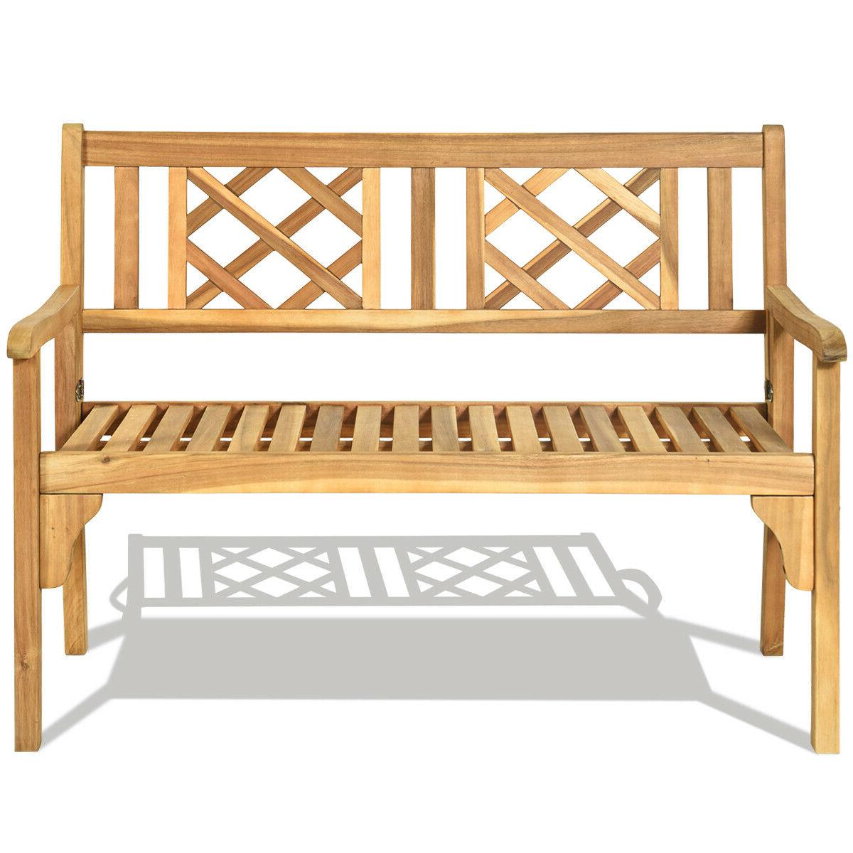 Patio Outdoor Acacia Wood Bench Folding Loveseat Chair Garden Furniture Teak Inside 2019 Hampstead Heath Teak Garden Benches (View 18 of 30)
