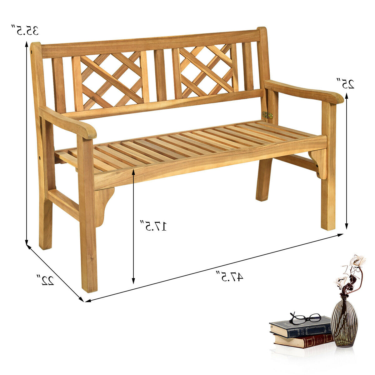 Patio Outdoor Acacia Wood Bench Folding Loveseat Chair Garden Furniture Teak With Best And Newest Hampstead Heath Teak Garden Benches (View 12 of 30)