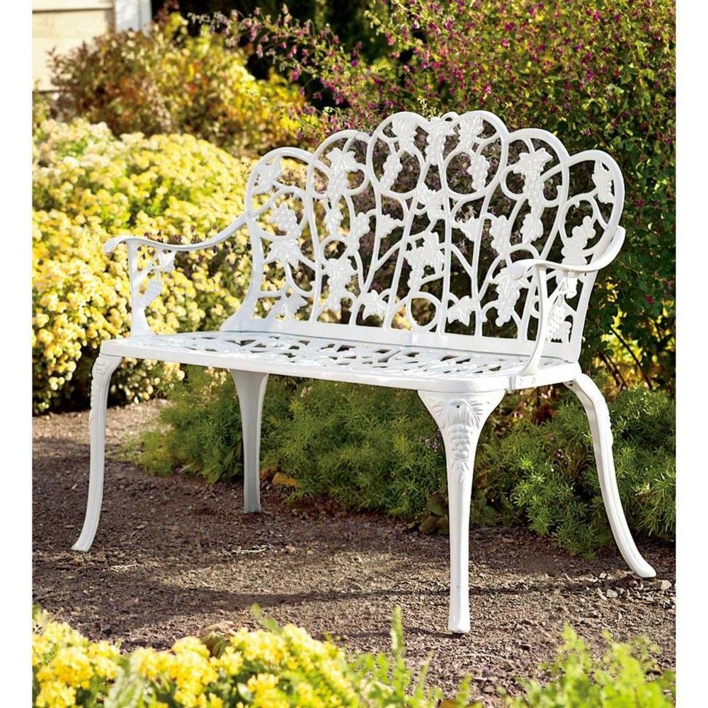 Popular Aluminum Vintage Style Outdoor Garden Bench With Grape Vine Regarding Montezuma Cast Aluminum Garden Benches (View 15 of 30)