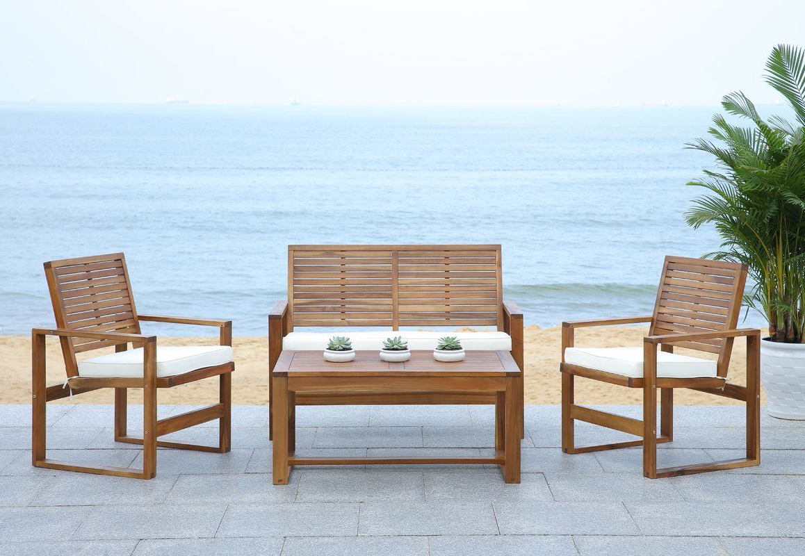 Popular Amabel Patio Diamond Wooden Garden Benches With Regard To Black Diamond 4 Piece Lounge Seating Group With Cushions (View 17 of 30)