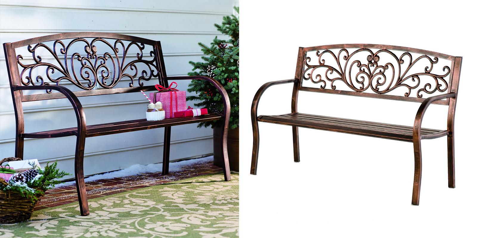 Popular Blooming Iron Garden Benches Pertaining To Bronze Finish Blooming Garden Bench — Homebnc (View 24 of 30)