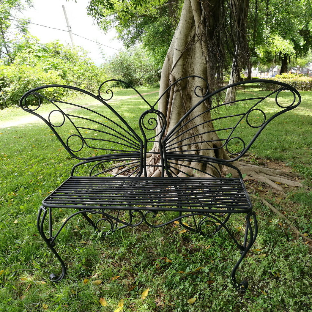 Popular Caryn Colored Butterflies Metal Garden Benches Inside Butterfly Metal Garden Bench (View 3 of 30)