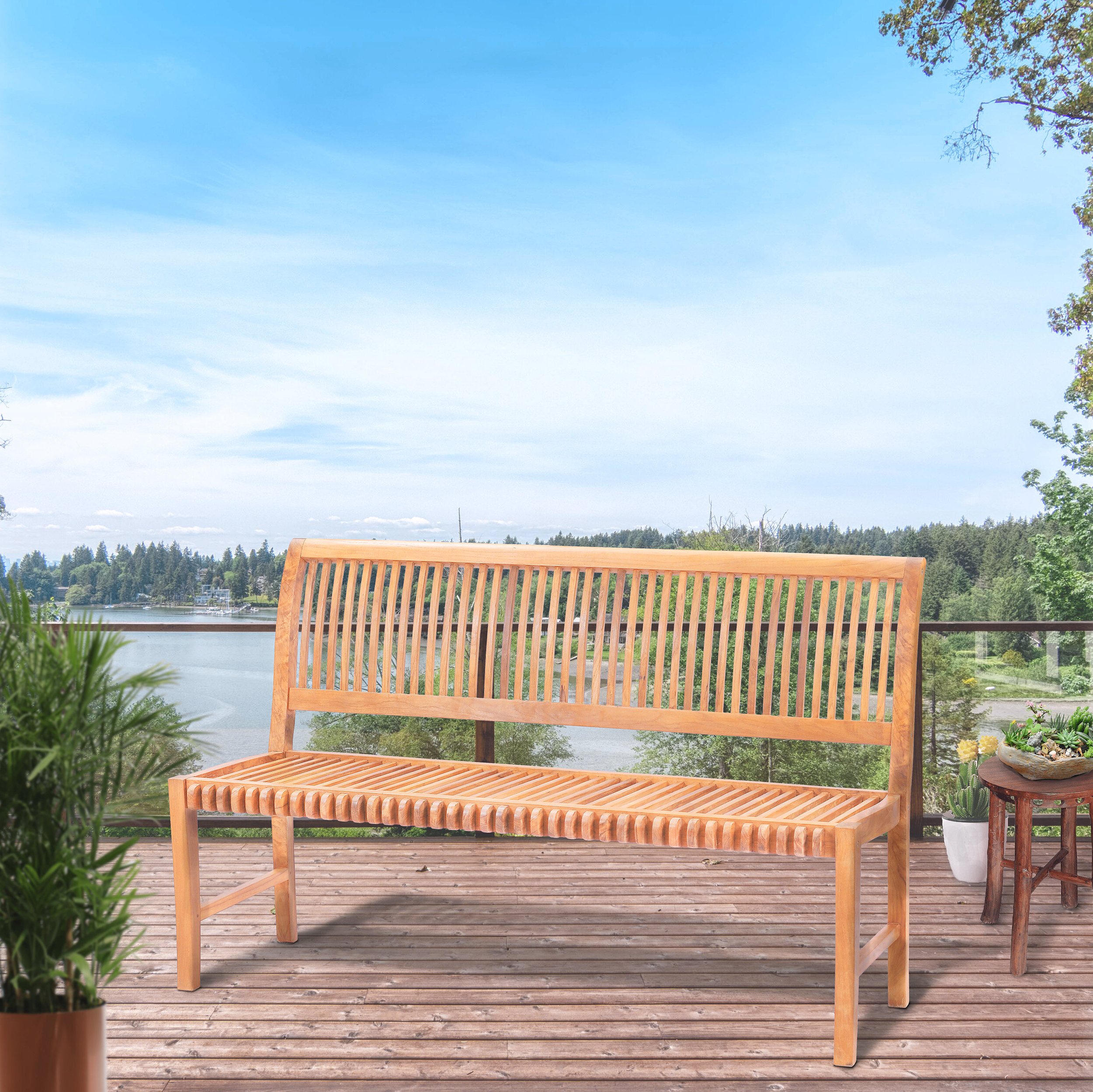 Popular Dedrick Teak Garden Bench With Wallie Teak Garden Benches (View 30 of 30)