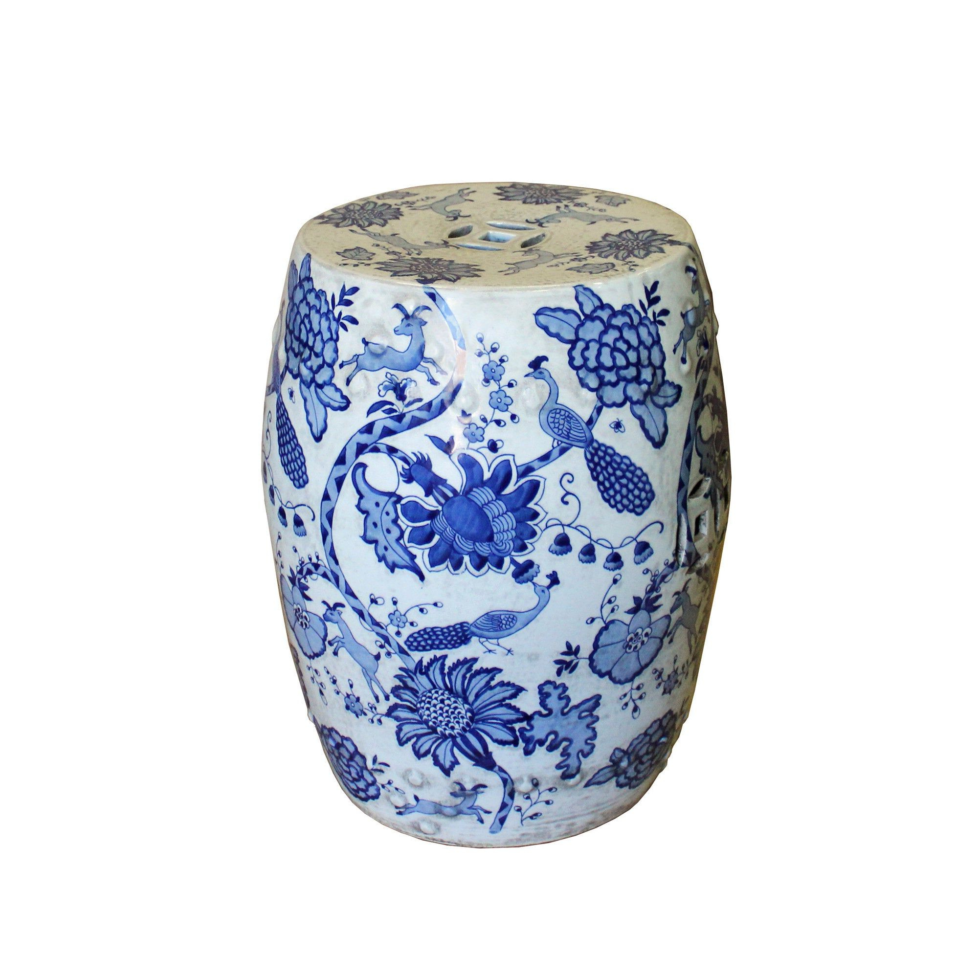 Popular Maci Tropical Birds Garden Stools Pertaining To Chinese Blue & White Porcelain Round Flower Bird Stool (View 3 of 30)