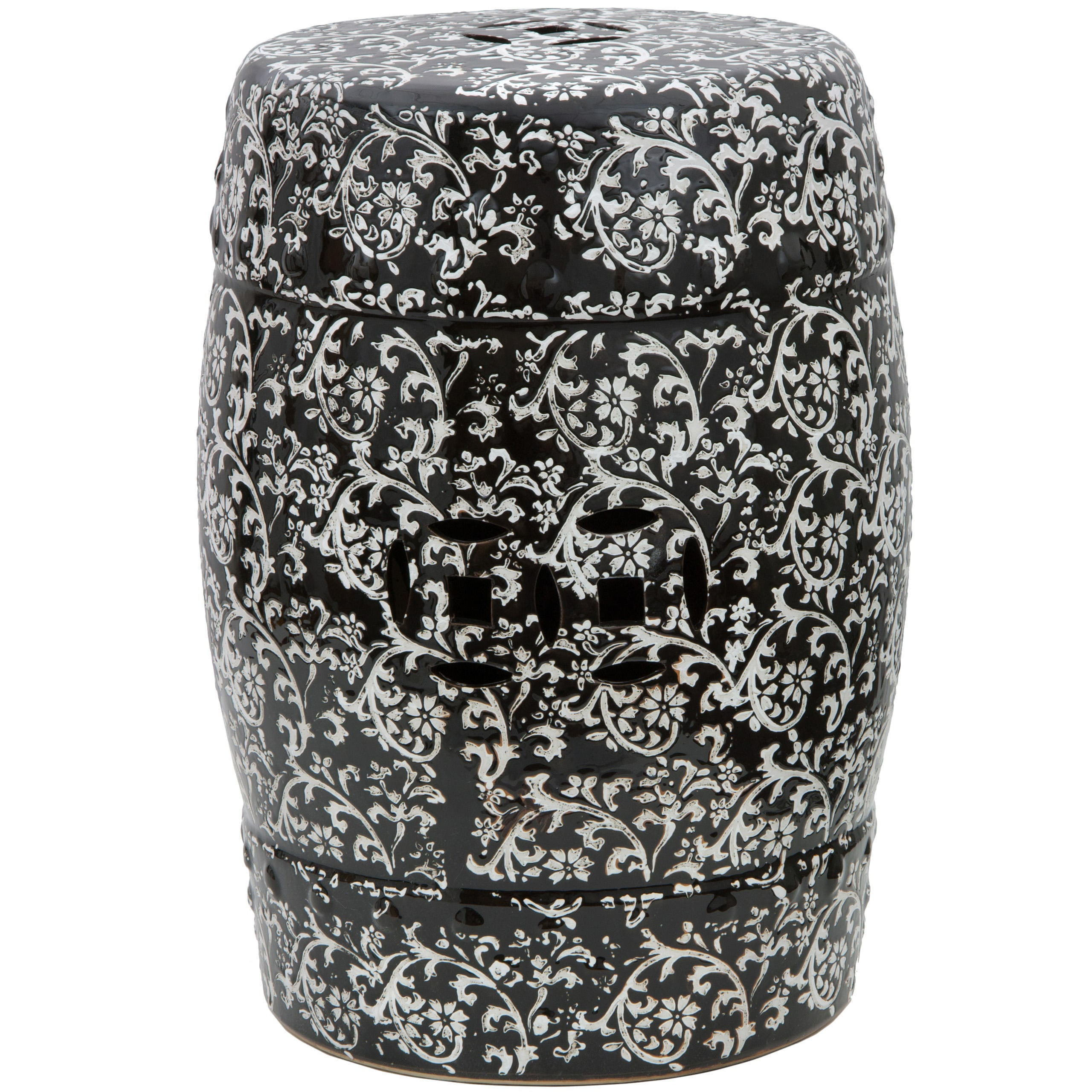 Popular Renee Porcelain Garden Stools For Handmade Black And White Floral Porcelain Garden Stool (View 21 of 30)