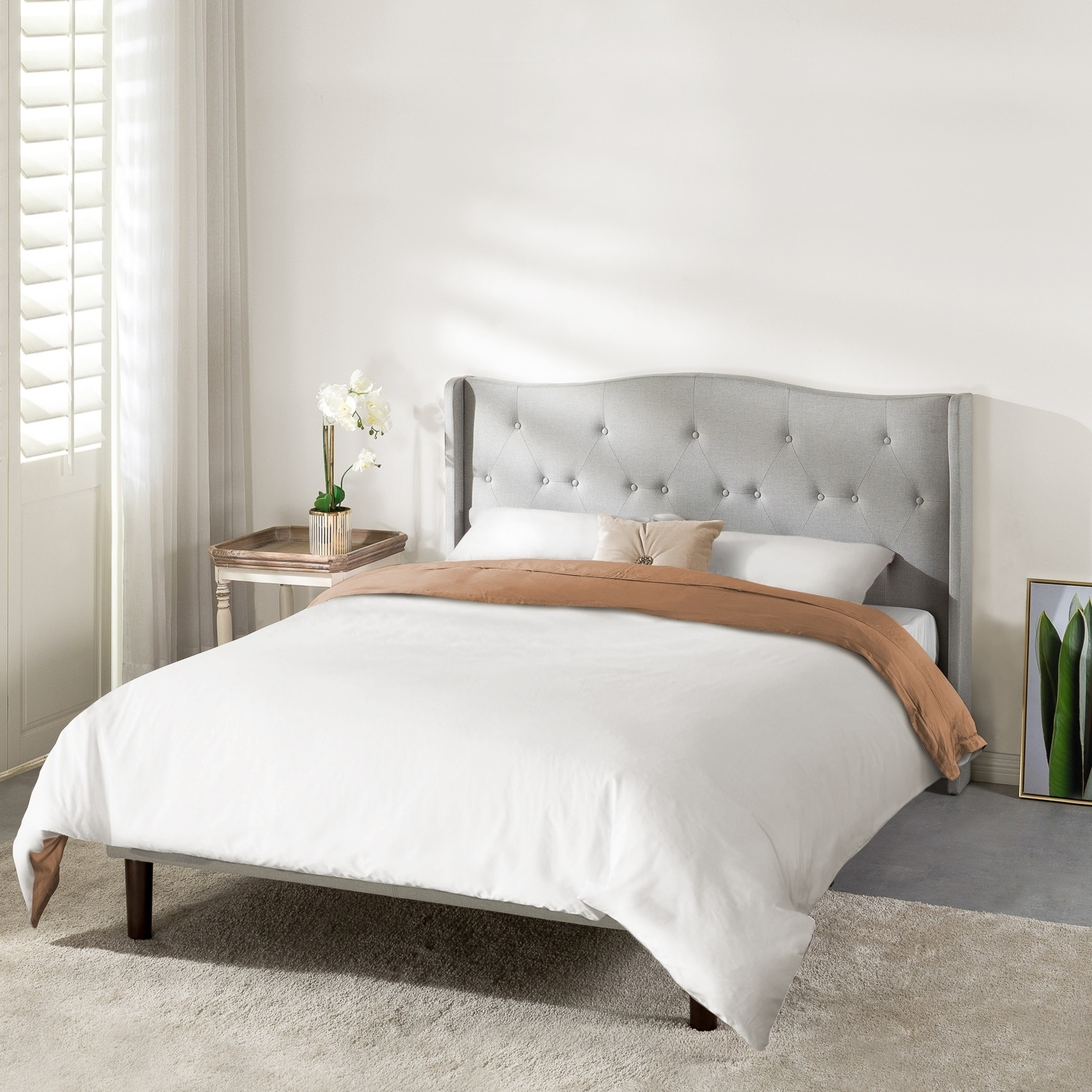 Preferred Amabel Patio Diamond Wooden Garden Benches In Amabel Upholstered Platform Bed, Modern Tufted Wingback Headboard, Real Wooden Slats And Legs, Light Grey – Crown Comfort (View 29 of 30)