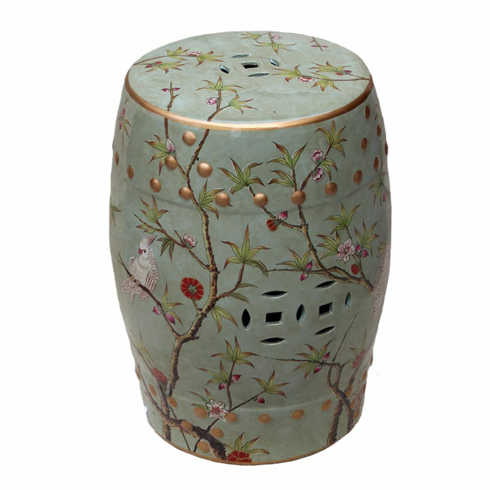 Preferred Famille Rose, Green, Bird & Floral Motif, Chinese Garden With Regard To Janke Floral Garden Stools (View 5 of 30)