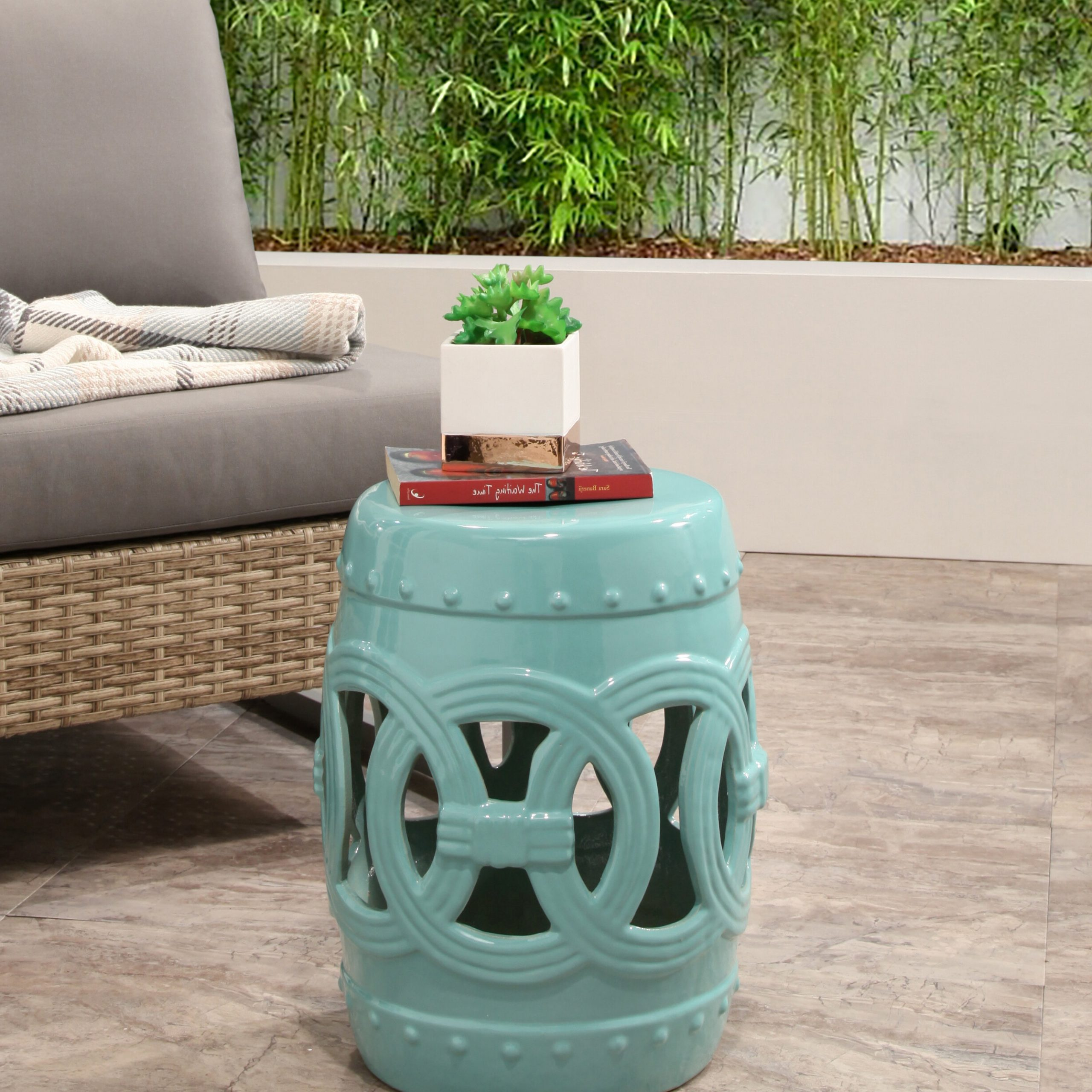 Preferred Holbrook Ceramic Garden Stools Throughout Holbeach Ceramic Garden Stool (View 3 of 30)