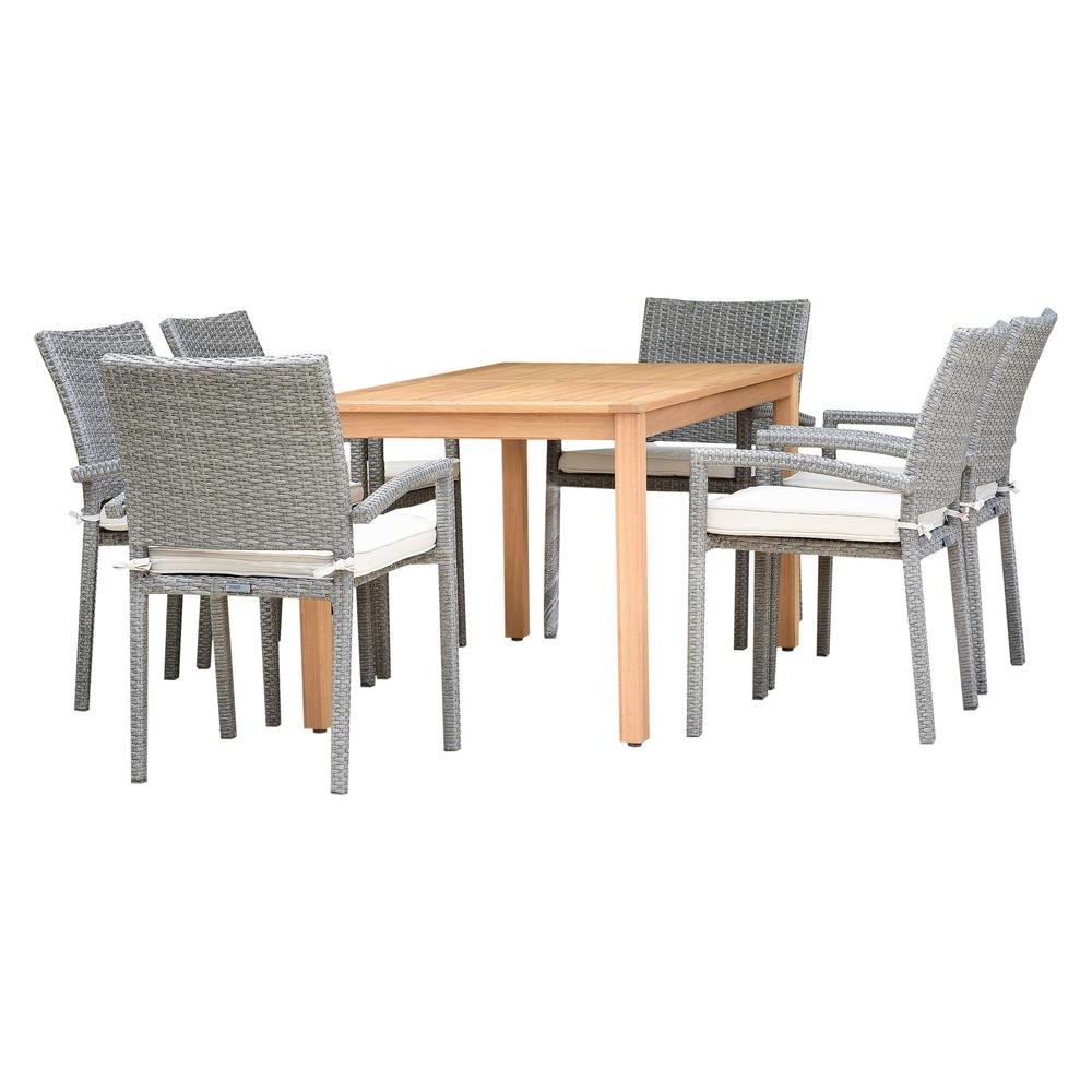 Preferred Manchester Solid Wood Garden Benches With Regard To Amazonia Manchester 7 Piece Teak Finish Rectangular Outdoor Dining Set With  White Cushions Orlreclot 6libarmgow – The Home Depot (View 28 of 30)