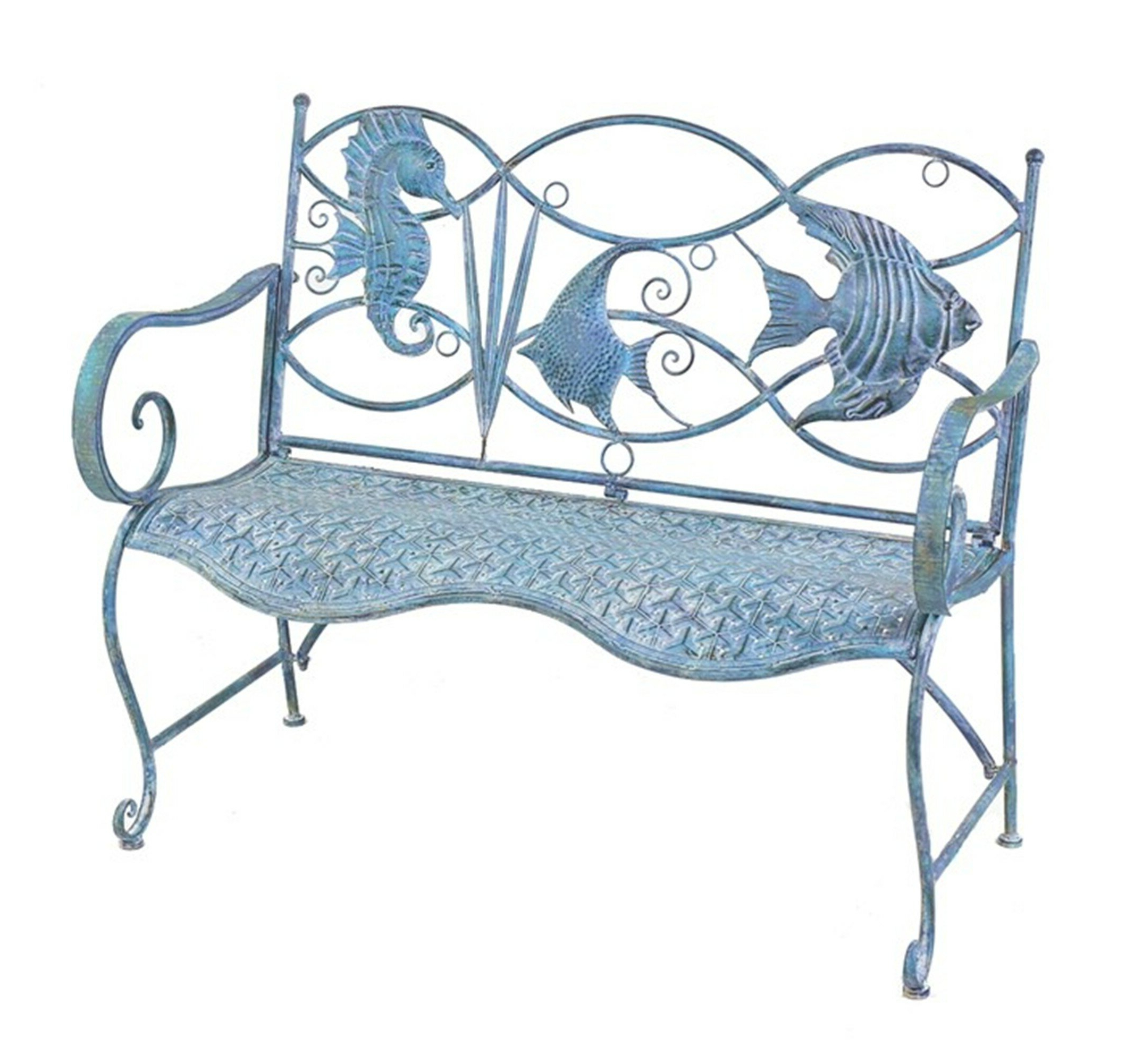 Preferred Michelle Metal Garden Benches For Dash Fish And Seahorse Back Metal Garden Bench (View 8 of 30)
