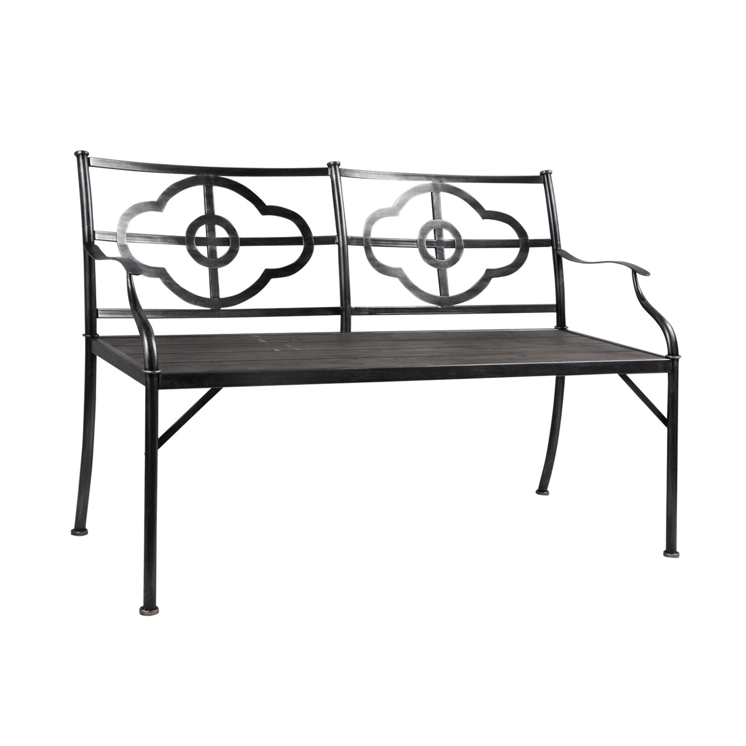 Preferred Ossu Iron Picnic Benches With Regard To Phaedra Clover Wood/metal Garden Bench (View 17 of 30)