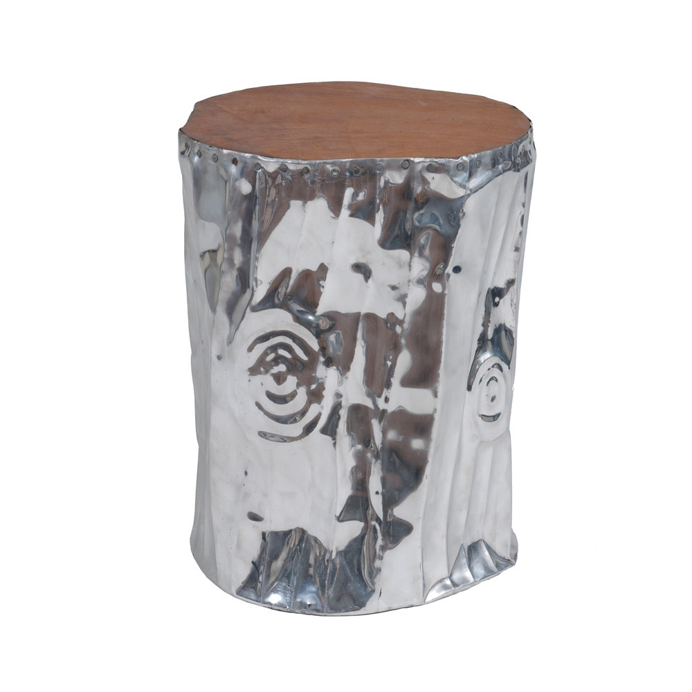 Preferred Standwood Metal Garden Stools With East At Main's Stanwood Modern Silver Tempered Drum Stool (View 14 of 30)