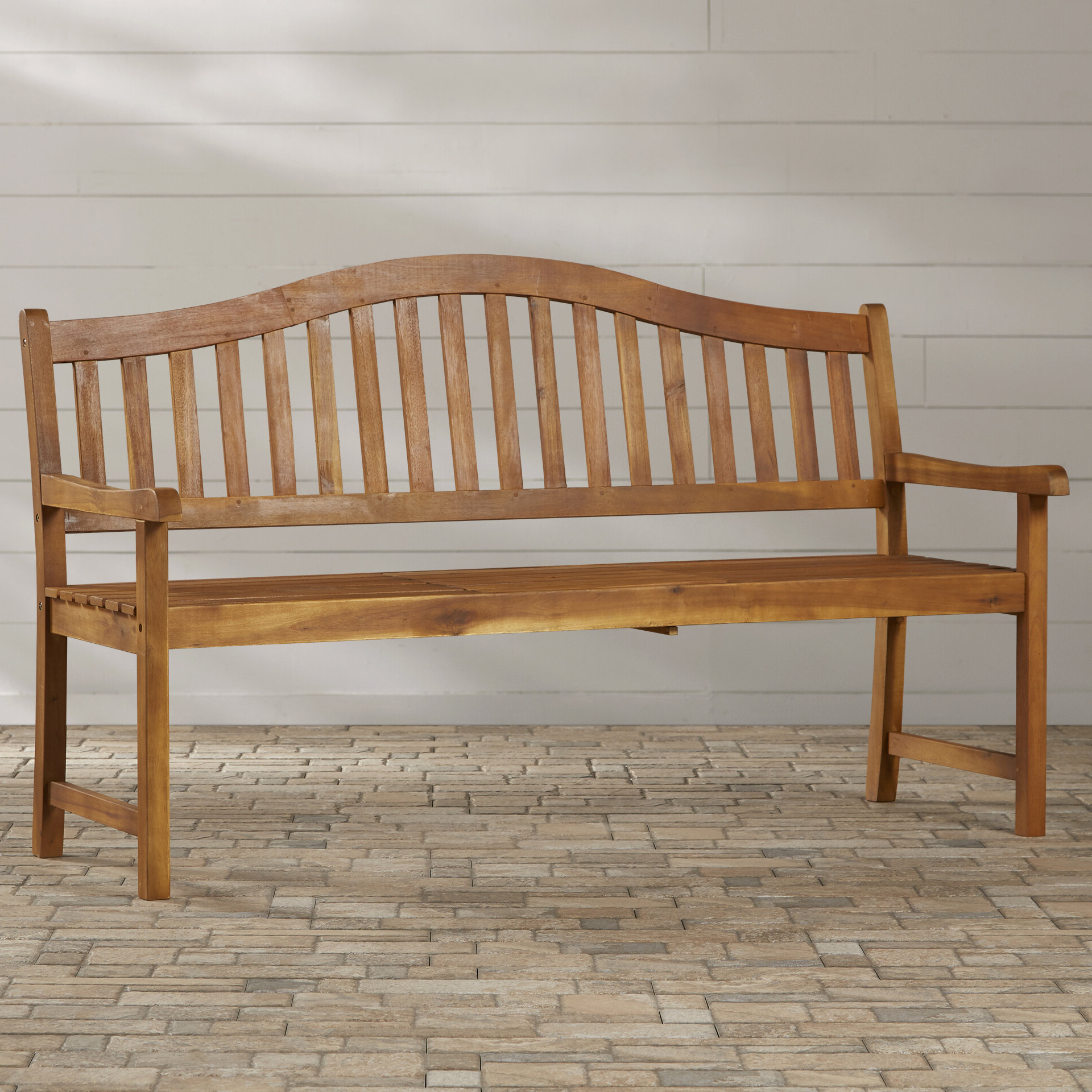 Preferred Volusia Wooden Garden Bench Intended For Wallie Teak Garden Benches (View 26 of 30)