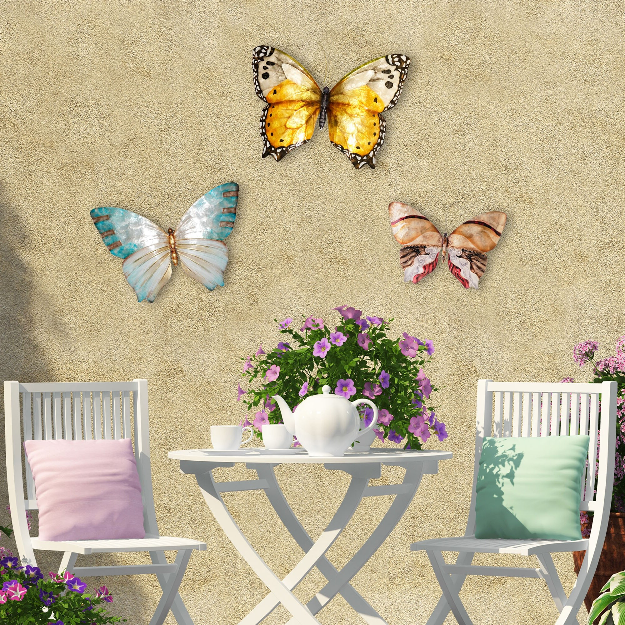 Recent Butterfly Wall Decor Pearl And Soft Aqua Regarding Caryn Colored Butterflies Metal Garden Benches (View 30 of 30)