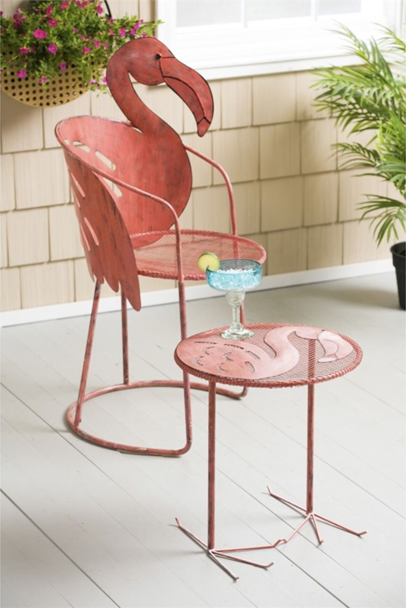 Recent Flamingo Metal Garden Benches In Wholesale Flamingo Chair And Side Table, Set Of 2 In (View 4 of 30)