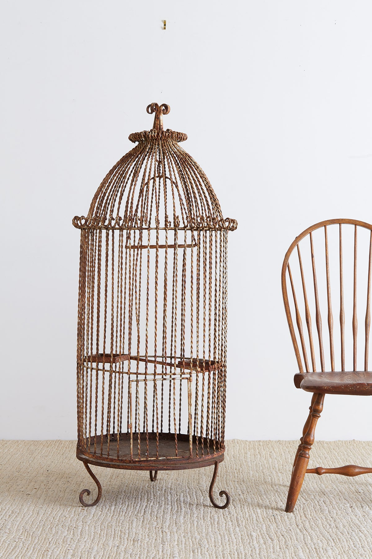 Recent French Twisted Wrought Iron Standing Bird Cage Throughout Madeline Vintage Bird Cast Iron Garden Benches (View 15 of 30)