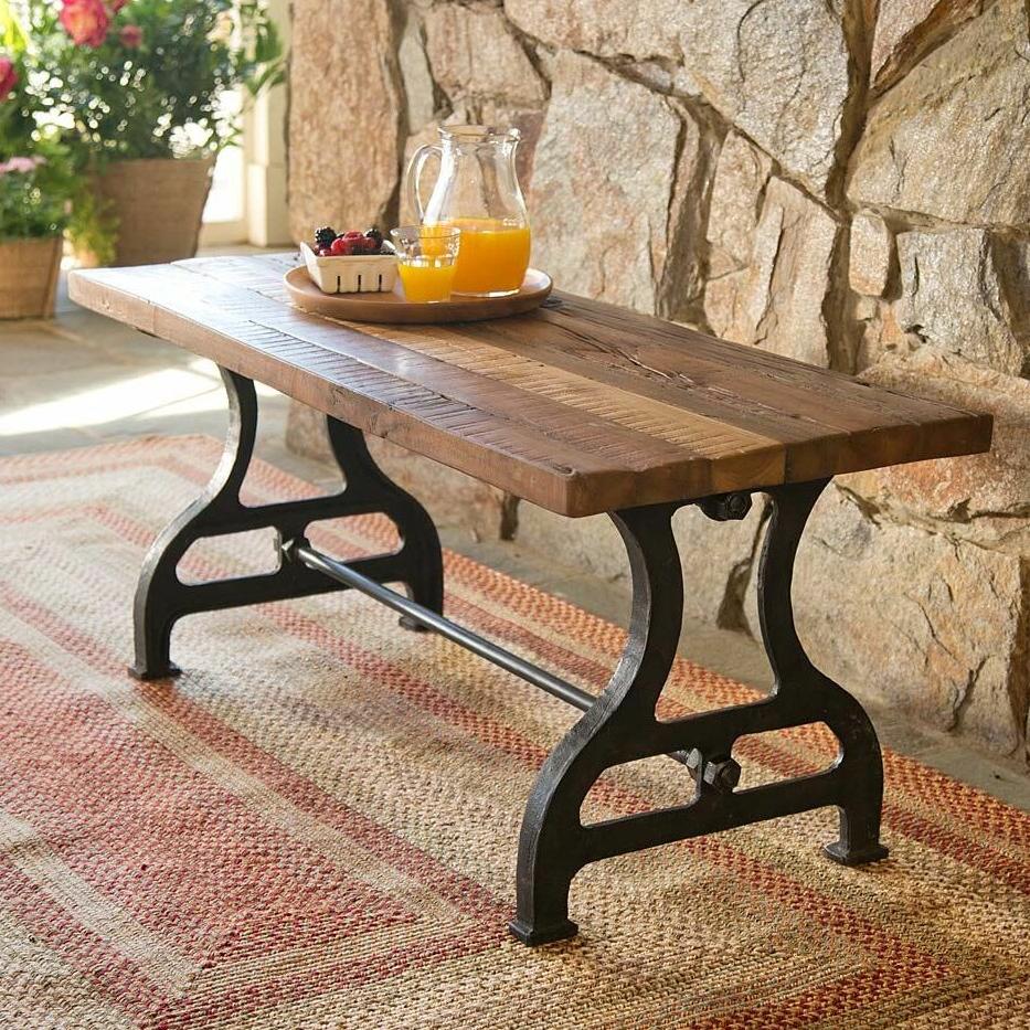 Reclaimed Wood/iron Garden Bench Regarding Famous Ossu Iron Picnic Benches (View 14 of 30)