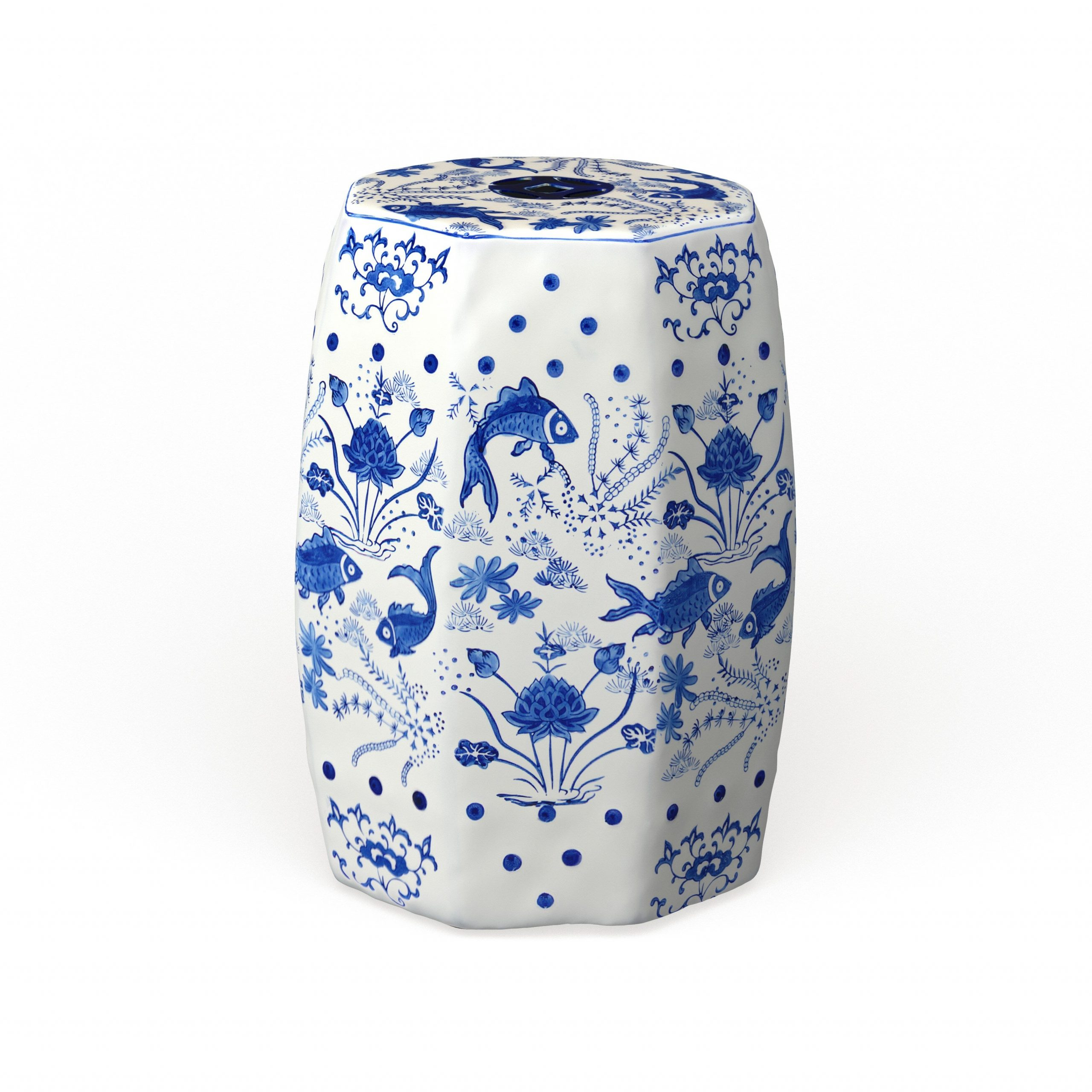 Safavieh Cloud 9 Chinoiserie Blue Koi Ceramic Decorative Garden Stool In Trendy Renee Porcelain Garden Stools (View 26 of 30)