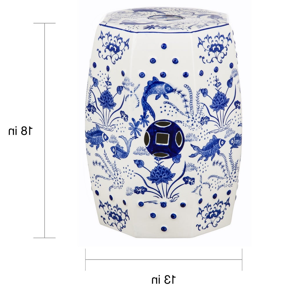 Safavieh Cloud 9 Chinoiserie Blue Koi Ceramic Decorative Garden Stool With Regard To Well Known Renee Porcelain Garden Stools (View 16 of 30)