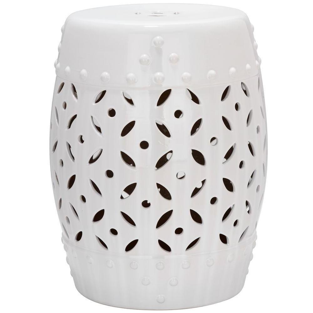 Safavieh Lattice Coin White Ceramic Patio Stool (View 10 of 30)