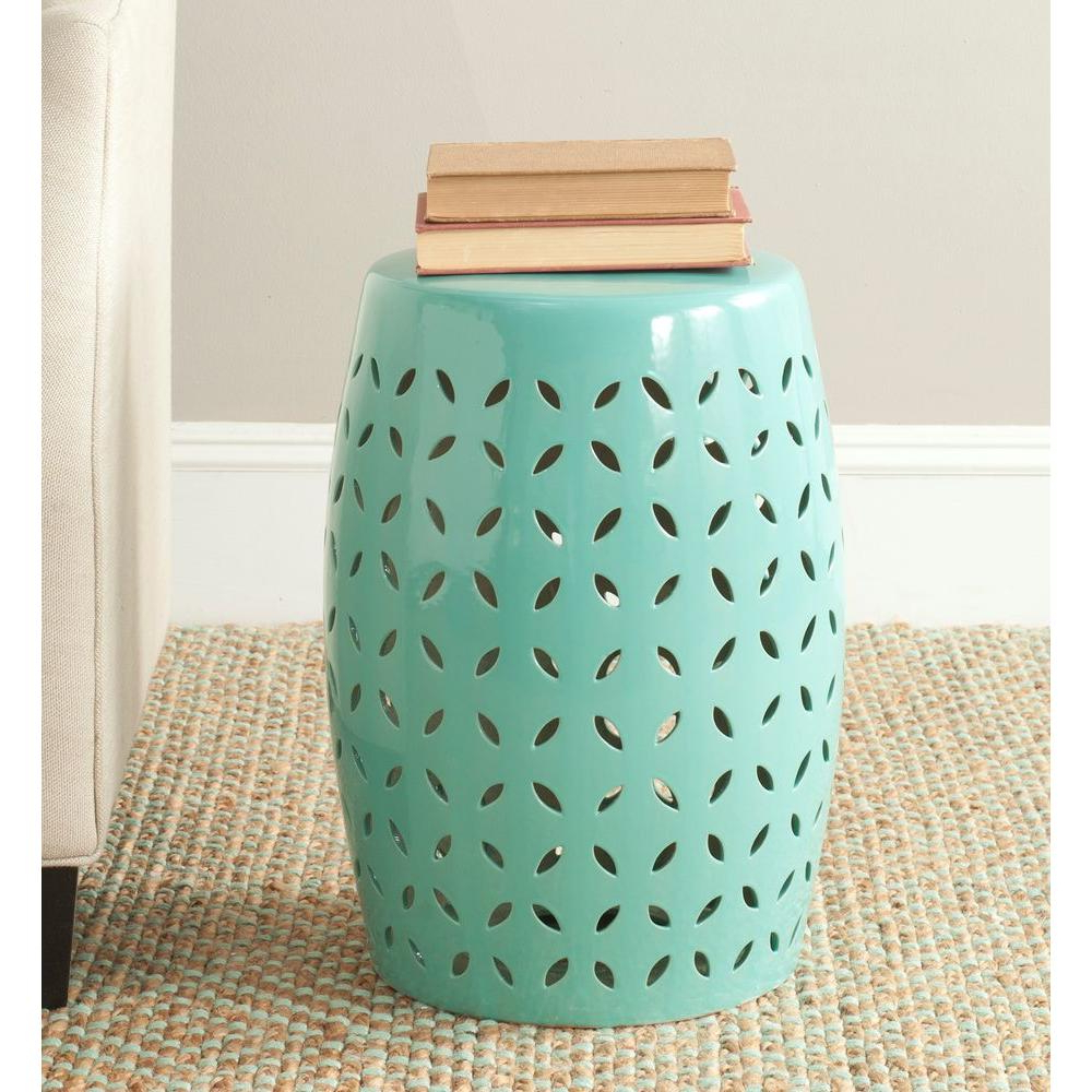 Safavieh Lattice Petal Egg Blue Ceramic Garden Stool Acs4509c – The Home Depot Within Fashionable Ceramic Garden Stools (View 23 of 30)