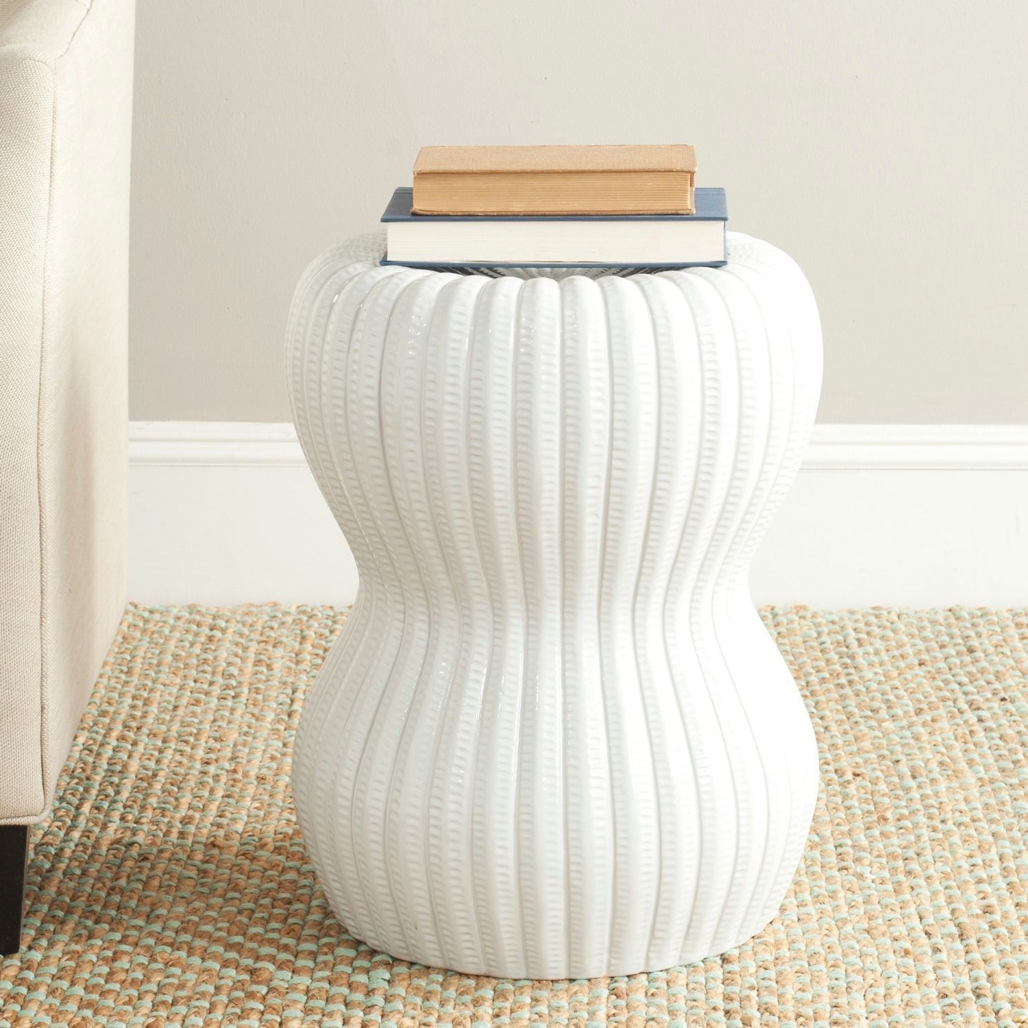 Safavieh Paradise Oval White Ceramic Decorative Garden Stool Pertaining To Famous Karlov Ceramic Garden Stools (View 14 of 30)