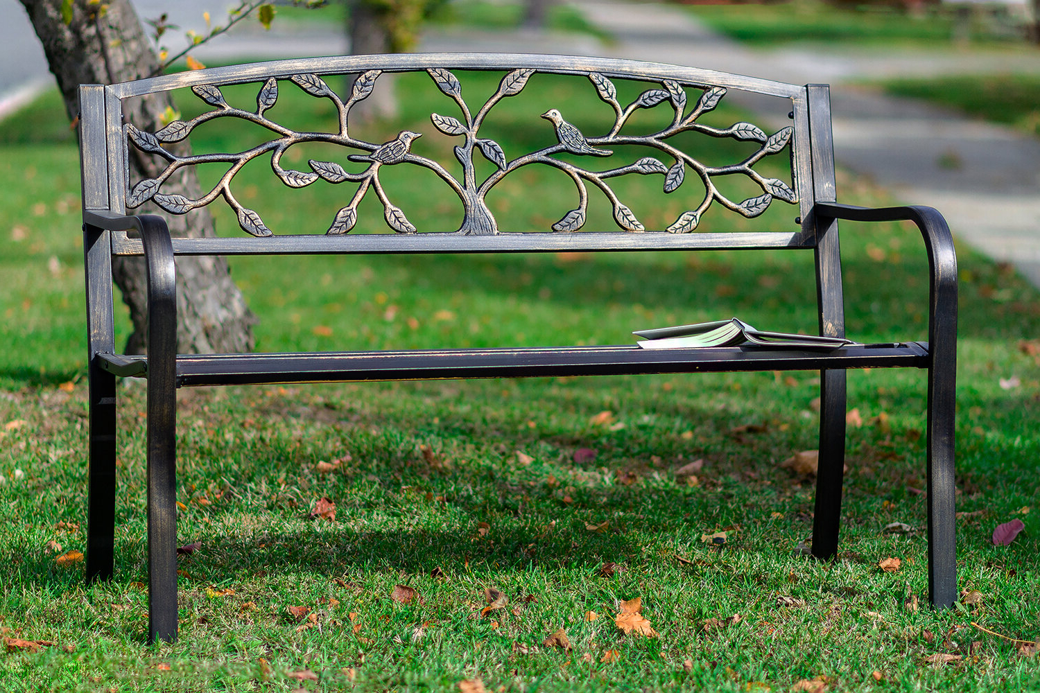 Sharpton Tree Metal Garden Bench Throughout Widely Used Caryn Colored Butterflies Metal Garden Benches (View 12 of 30)