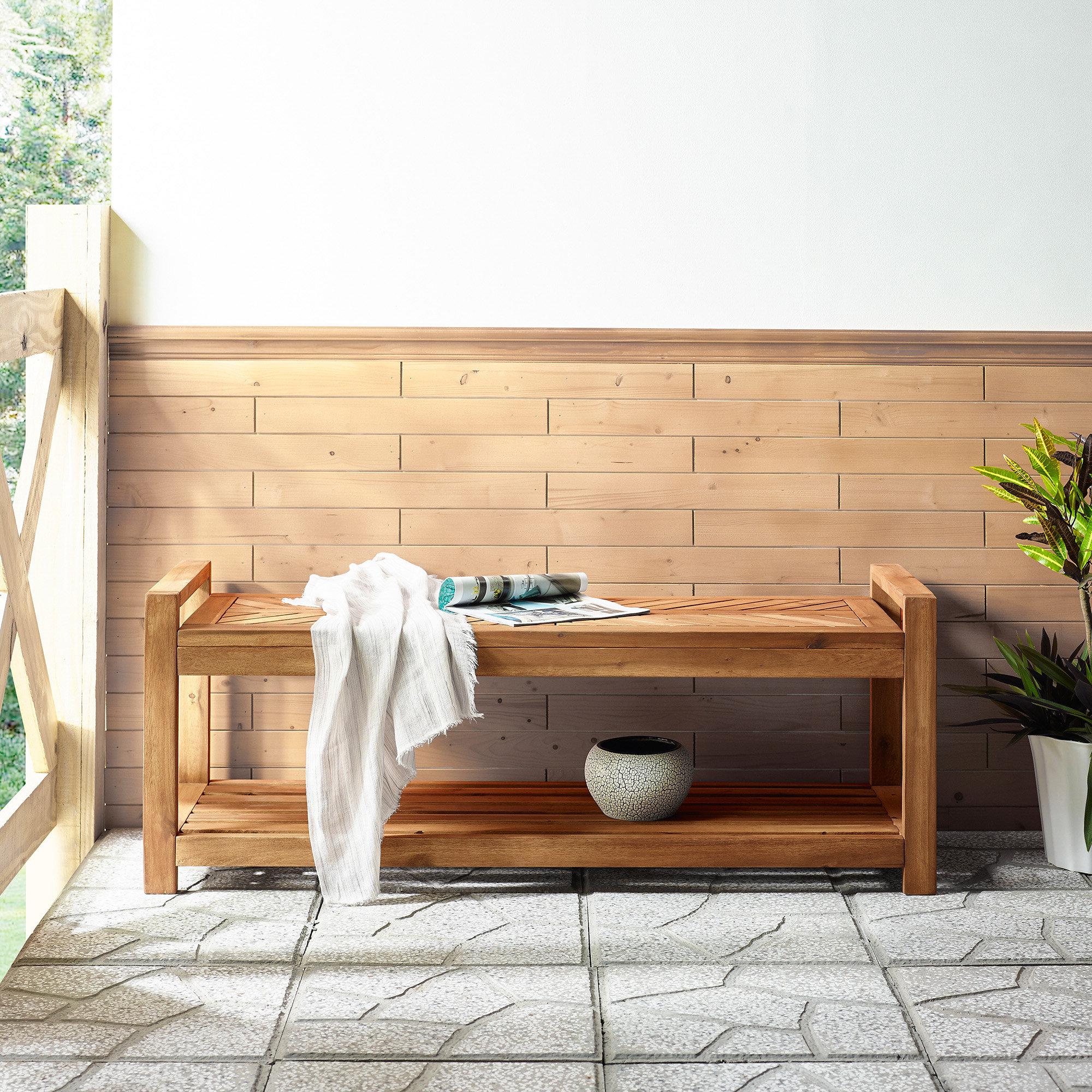 Skoog Chevron Wooden Storage Bench For Well Liked Skoog Chevron Wooden Garden Benches (View 4 of 30)