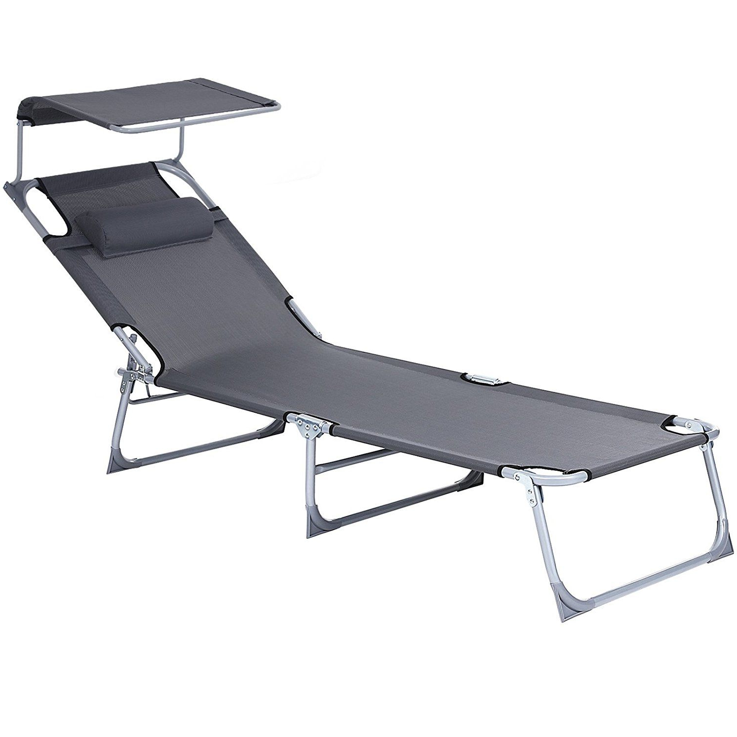 Songmics Sun Lounger Recliner Chair With Canopy And Regarding Recent Norrie Metal Garden Benches (View 27 of 30)