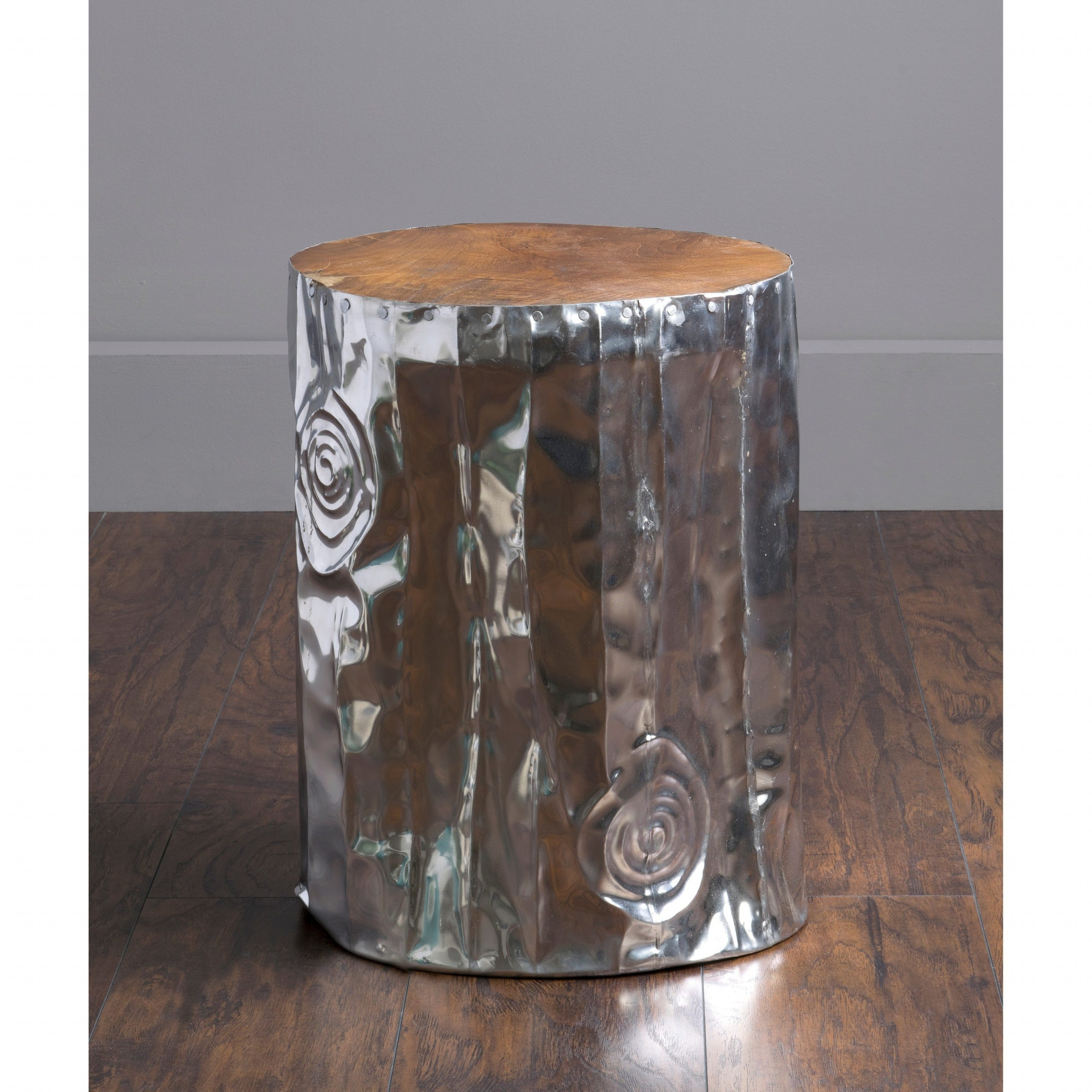 Standwood Metal Garden Stools For Latest East At Main's Stanwood Modern Silver Tempered Drum Stool (View 10 of 30)