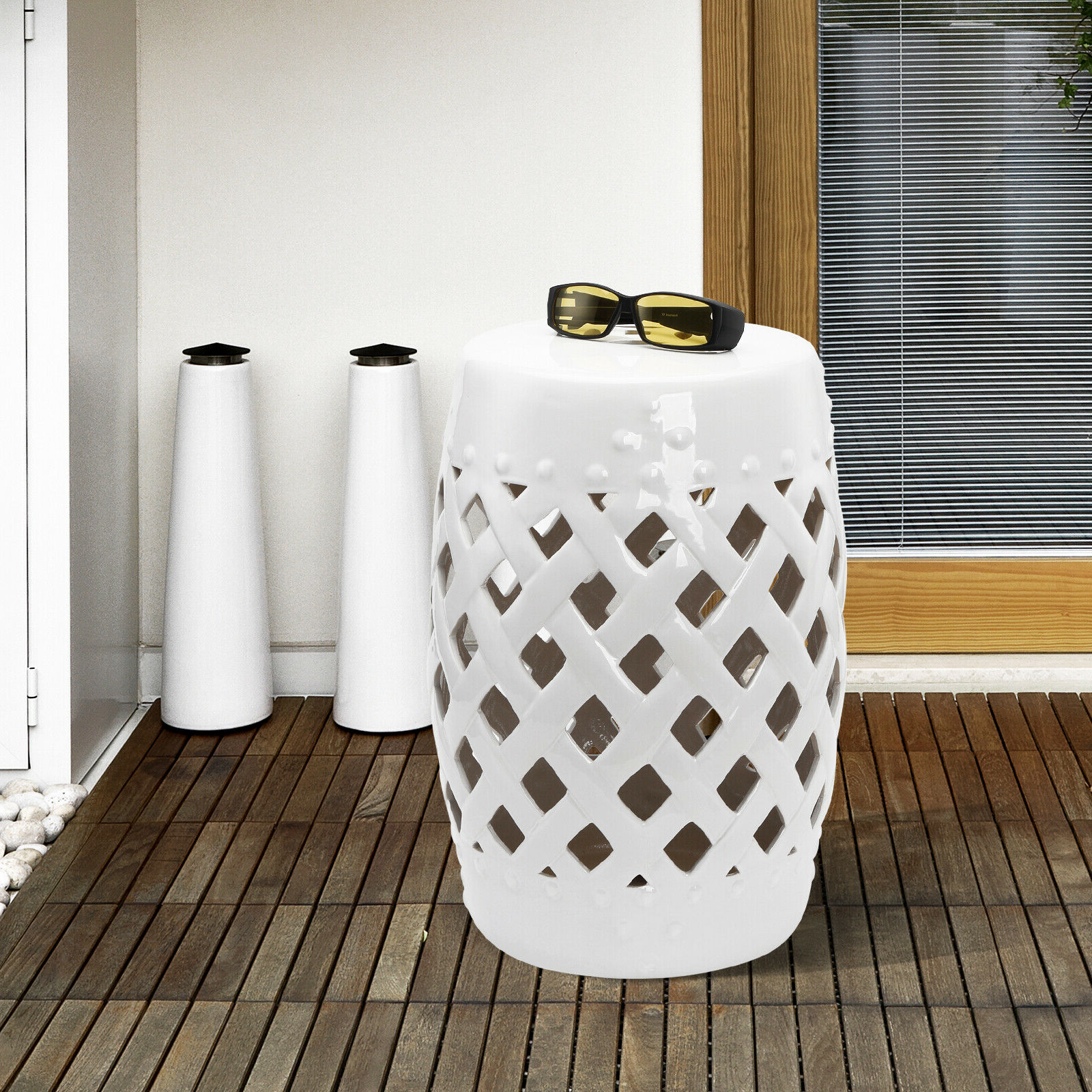 Standwood Metal Garden Stools Intended For Most Up To Date Outsunny Modern Ceramic Lattice Garden Stool Accent Table Decorative White (View 8 of 30)