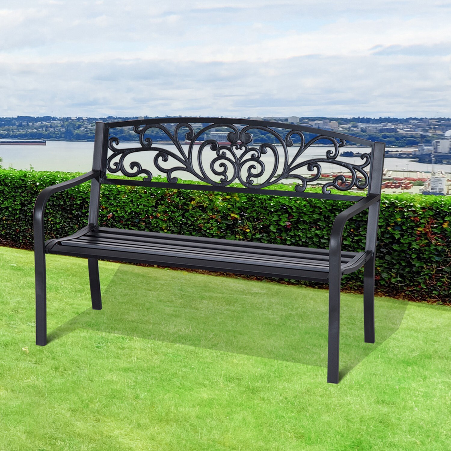 Featured Photo of Strasburg Blossoming Decorative Iron Garden Benches