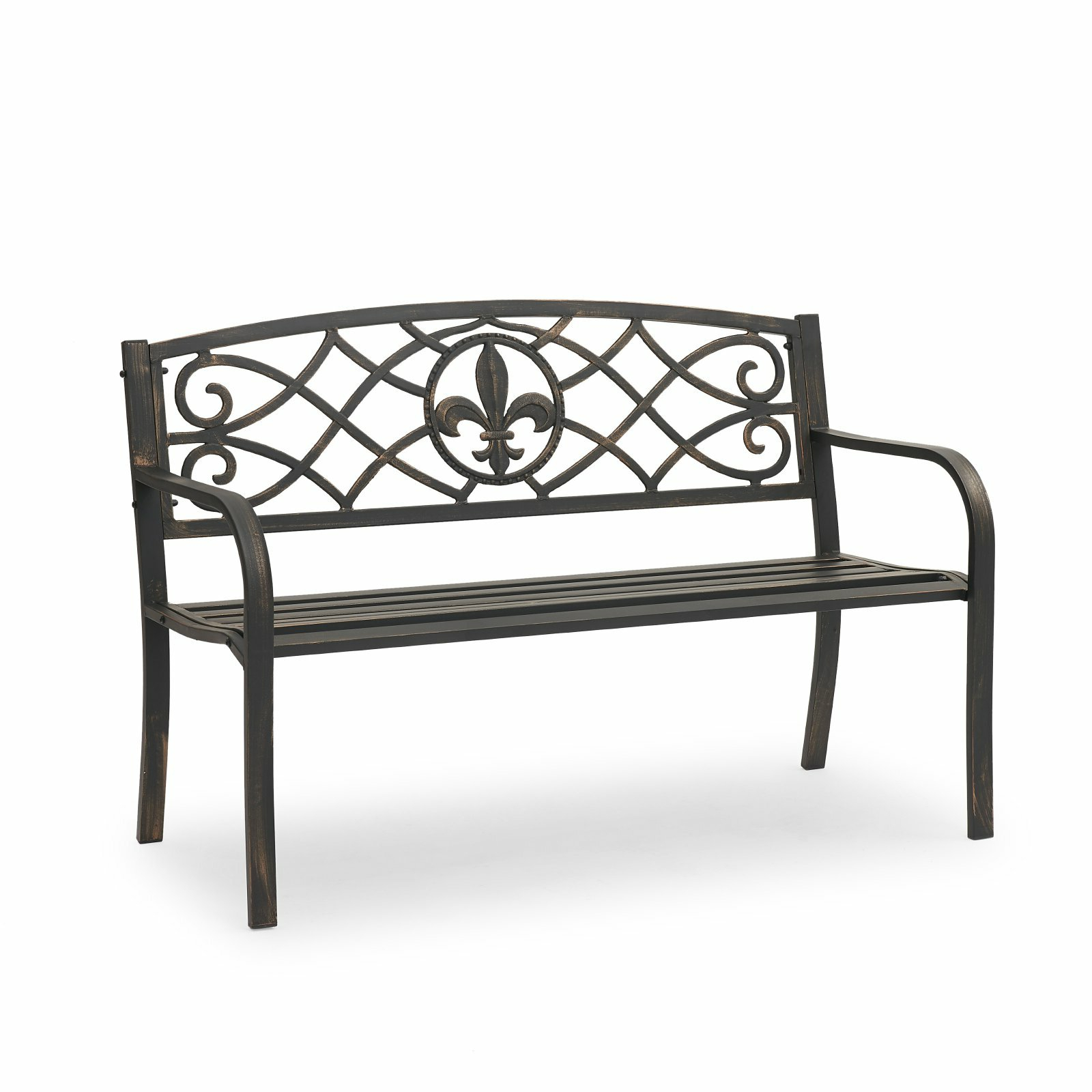Tattnall Royal Curved Metal Park Bench Regarding Most Up To Date Zev Blue Fish Metal Garden Benches (View 6 of 30)