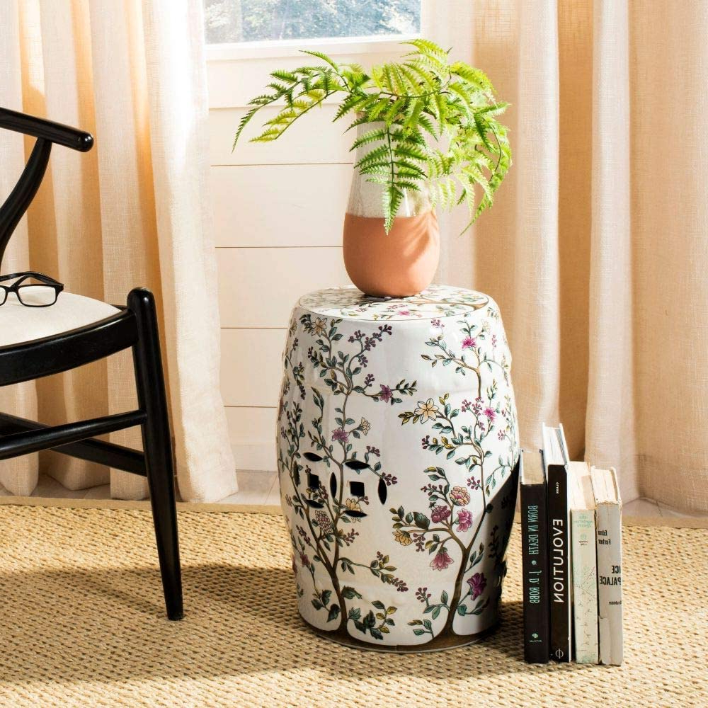 Tillia Ceramic Garden Stools Regarding Most Current Safavieh Blooming Tree Ceramic Decorative Garden Stool, White (View 10 of 30)