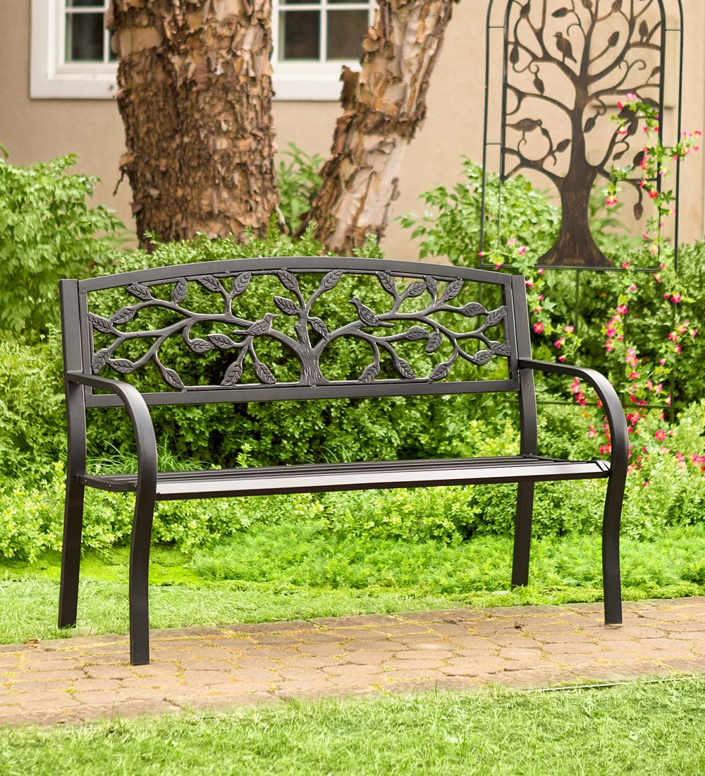 Tree Of Life Iron Garden Benches Inside Most Recent Tree Of Life Metal Garden Bench – Black (View 3 of 30)