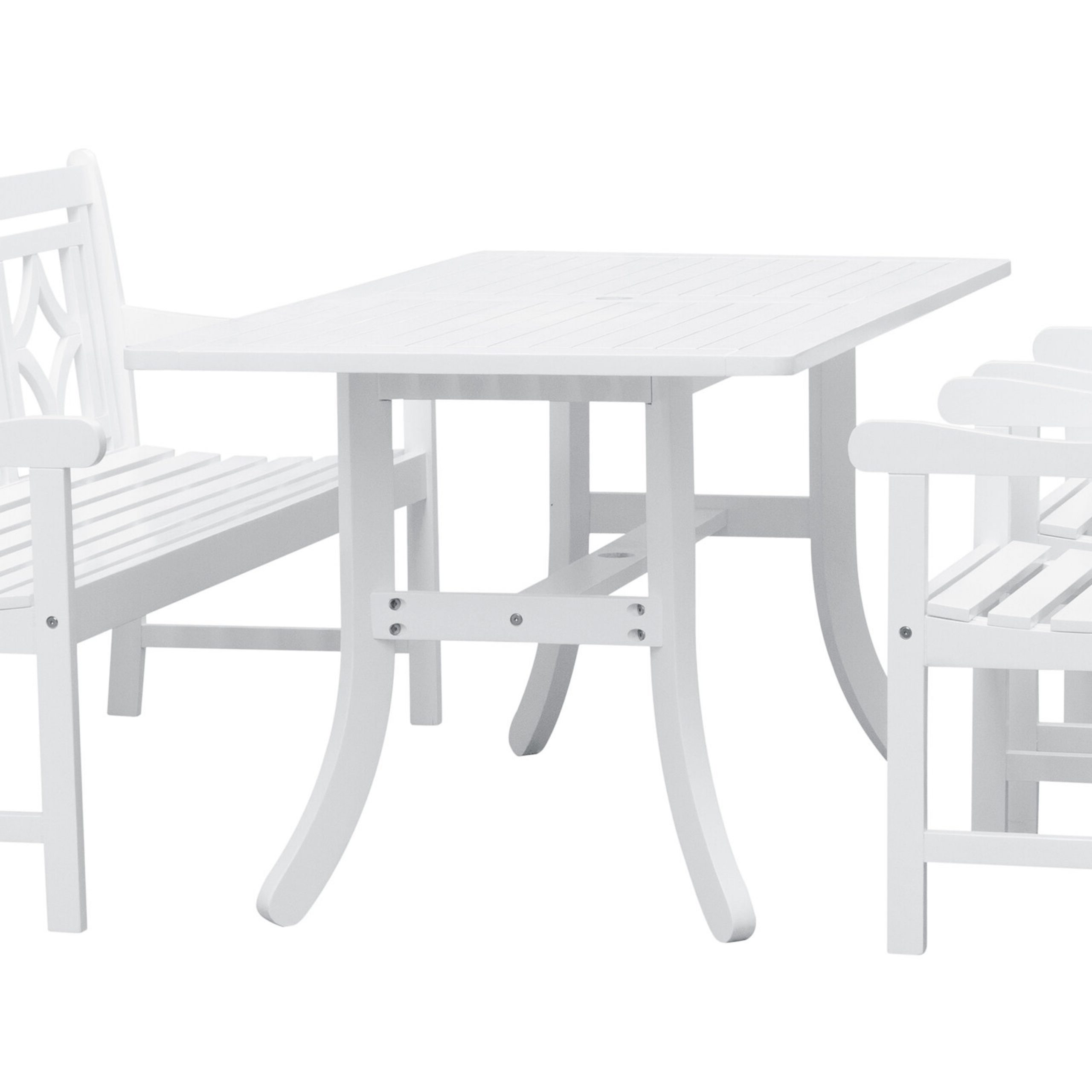Trendy Amabel 4 Piece Patio Dining Set Within Amabel Patio Diamond Wooden Garden Benches (View 11 of 30)