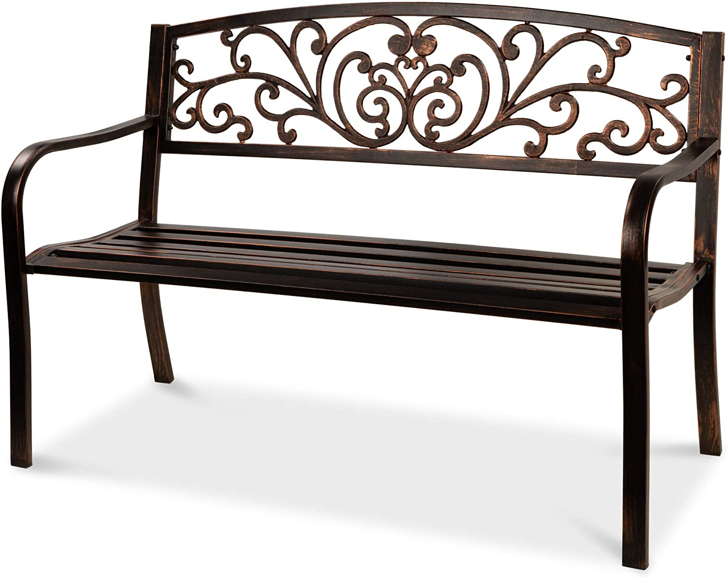 Trendy Best Choice Products 50in Steel Garden Bench For Outdoor, Park, Yard, Patio Furniture Chair W/floral Design Backrest, Slatted Seat – Brown Within Blooming Iron Garden Benches (View 11 of 30)