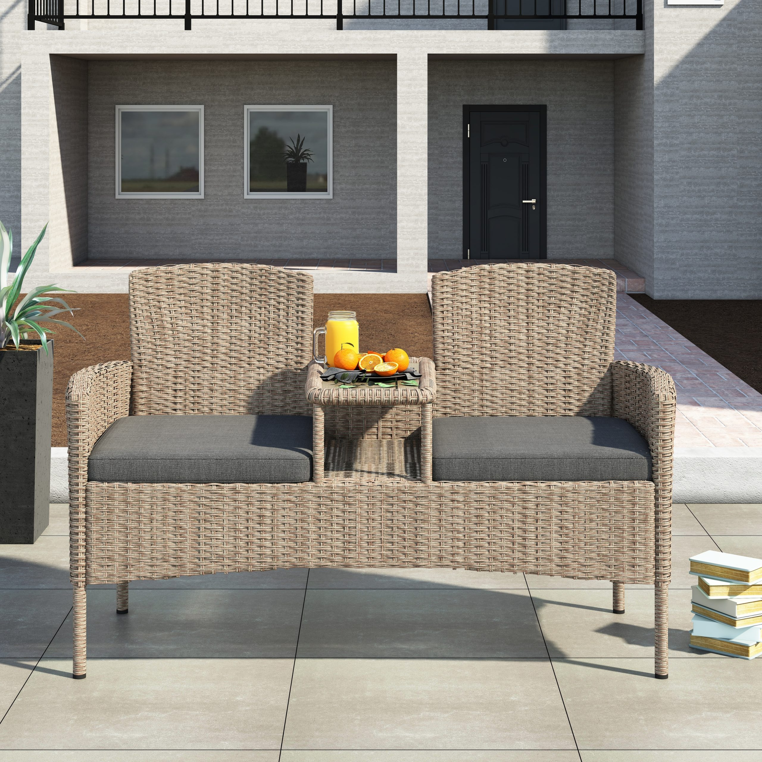 Trendy Lublin Wicker Tete A Tete Benches With Corvus Armitage Outdoor Wicker Tete A Tete Bench (View 6 of 30)