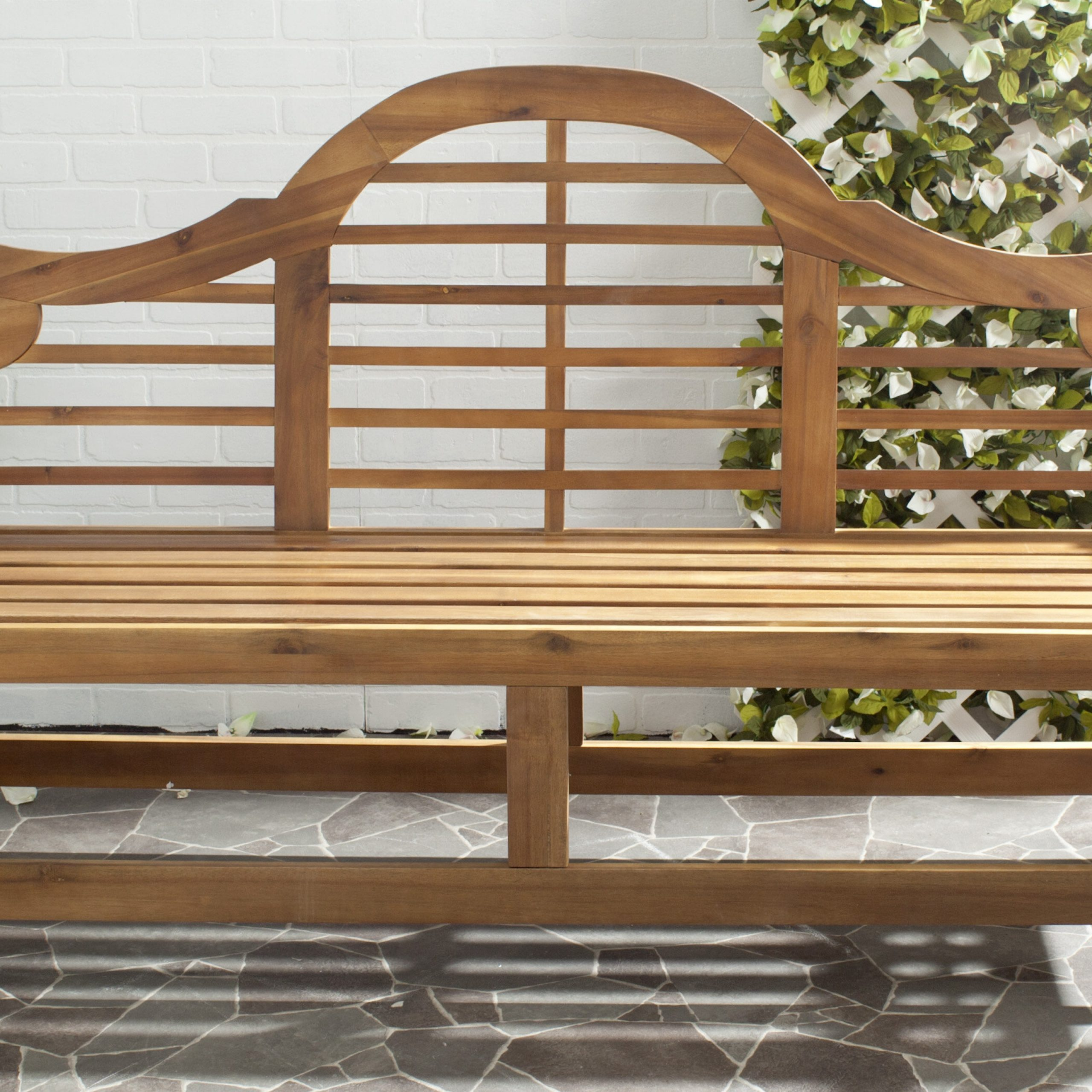 Trendy Lucille Timberland Wooden Garden Benches With Regard To Ruckus Teak Garden Bench (View 8 of 30)