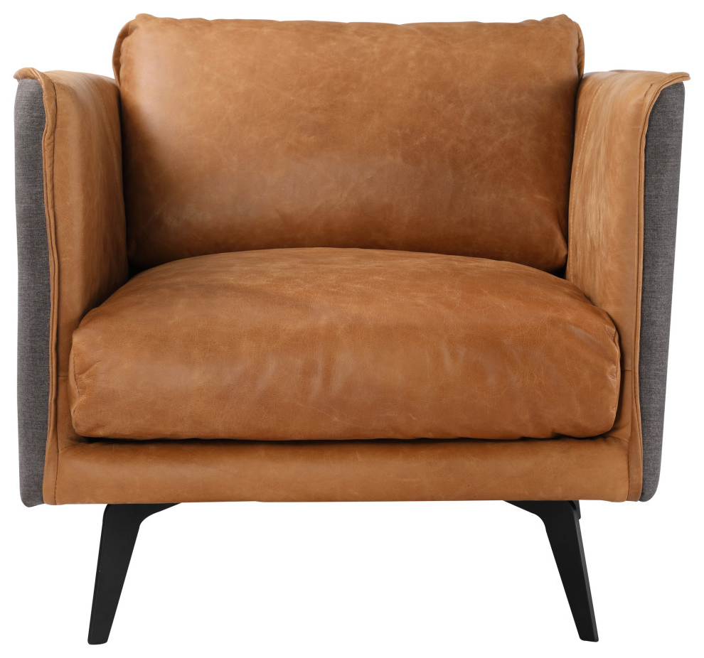 Trendy Messina Leather Arm Chair, Cognac With Messina Garden Stools Set (set Of 2) (View 30 of 30)
