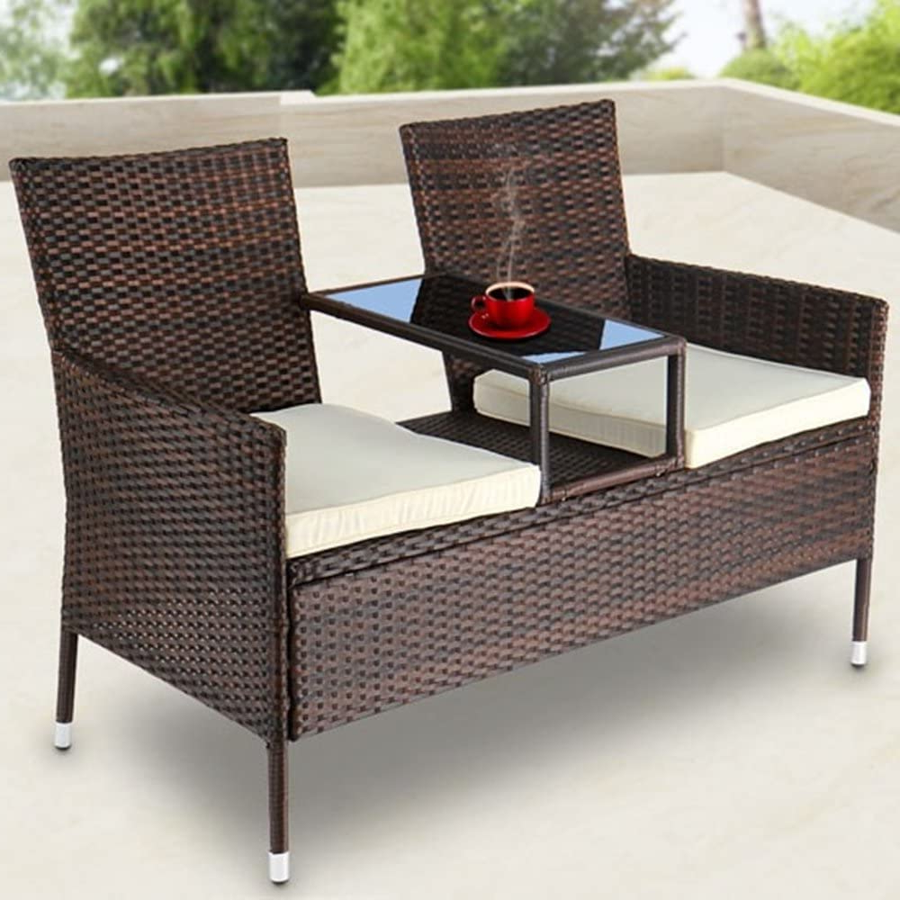 Trendy Wicker Tete A Tete Benches Within Ld Rattan Garden Bench With Table – Tete A Tete Bench Garden (View 7 of 30)
