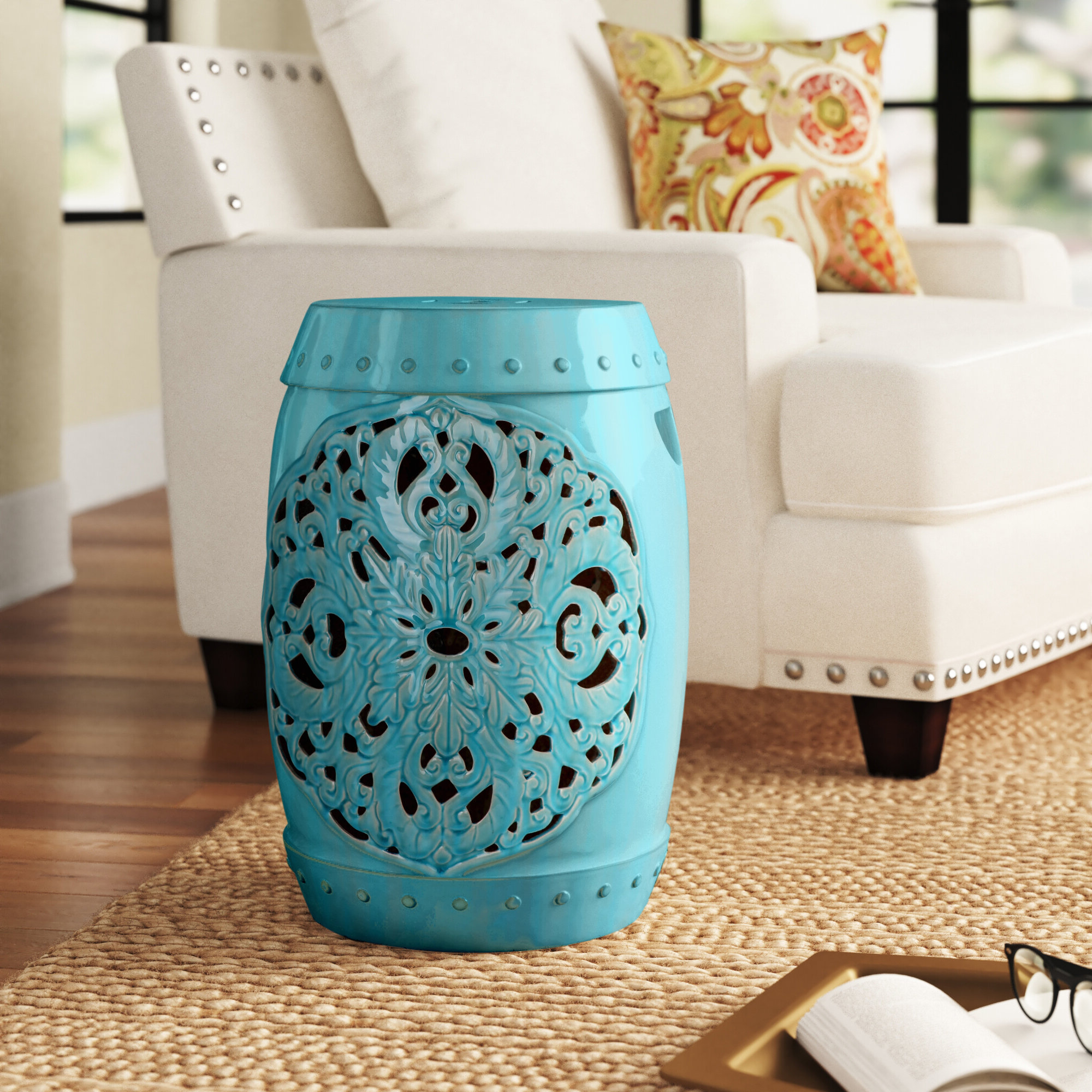 Trendy Williar Cherry Blossom Ceramic Garden Stools For Blue & Green Garden Stools You'll Love In (View 12 of 30)